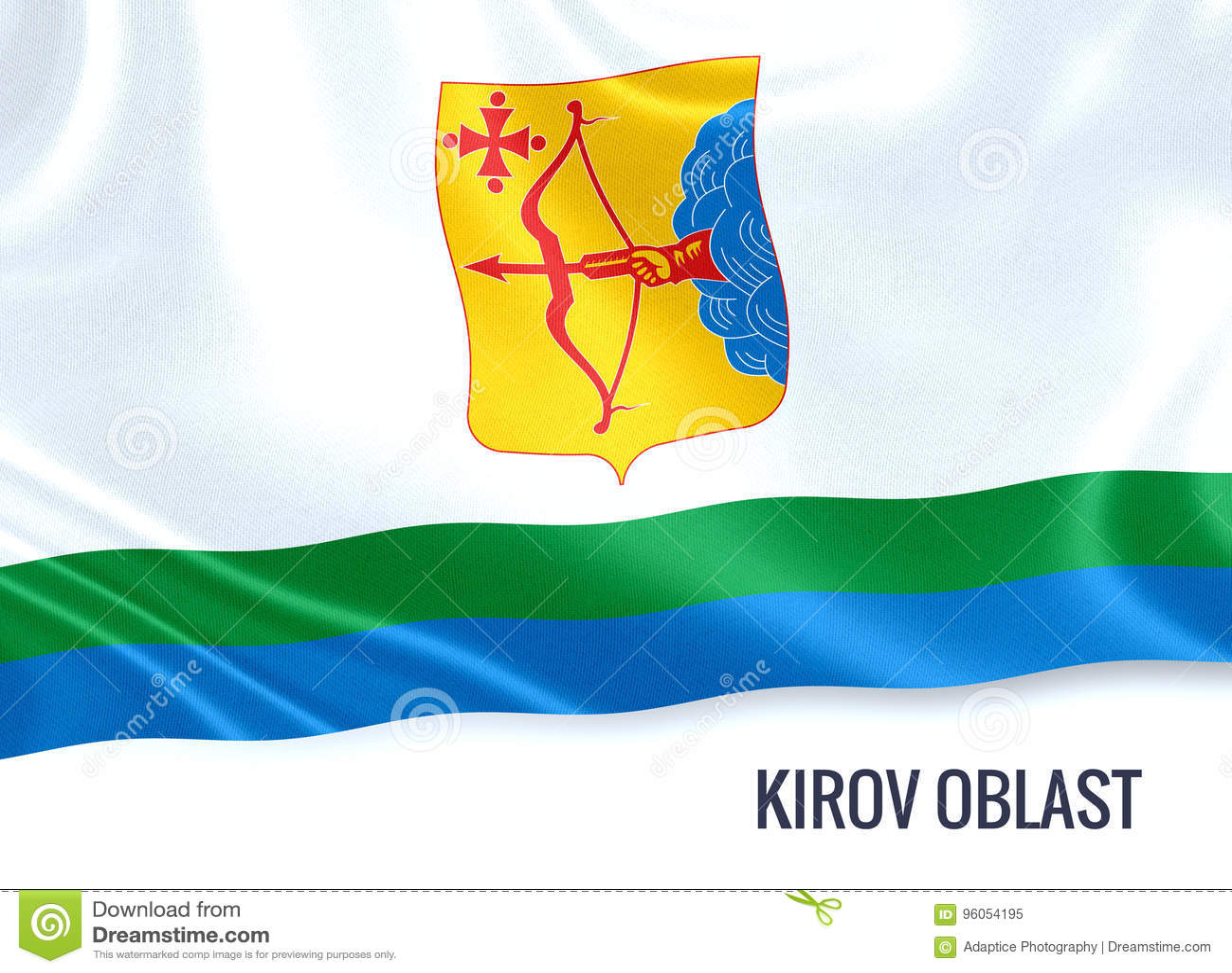 Drapeau russe de Kirov Oblast d état ondulant sur un blanc d isolement de retour
