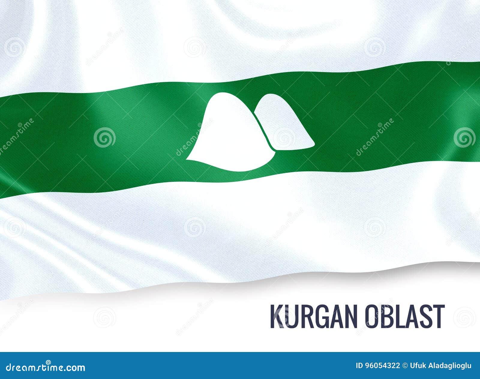 Drapeau russe de Kurgan Oblast d état ondulant sur un CCB blanc d isolement