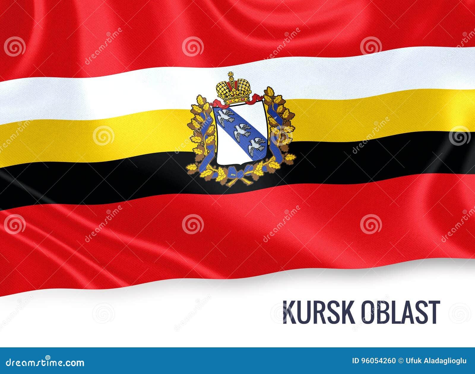 Drapeau russe de Kursk Oblast d état ondulant sur un blanc d isolement de retour