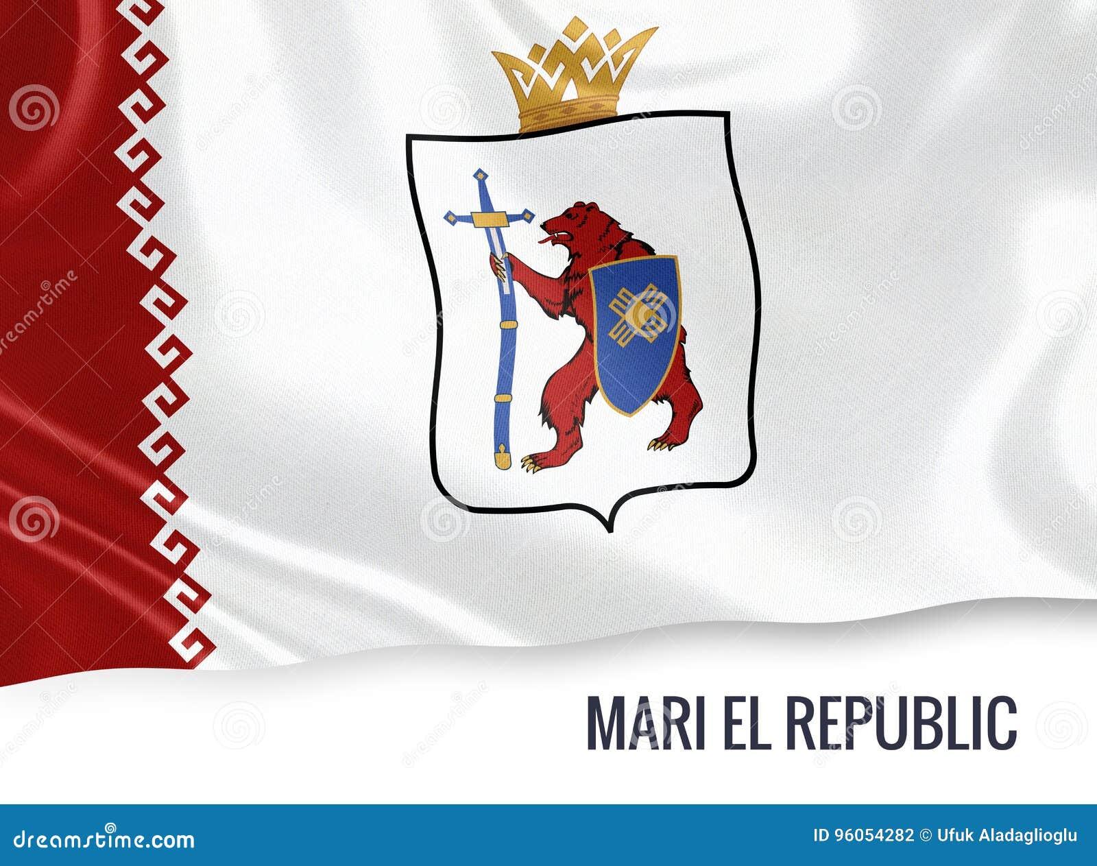 Drapeau russe de Mari El Republic d état ondulant sur un blanc d isolement