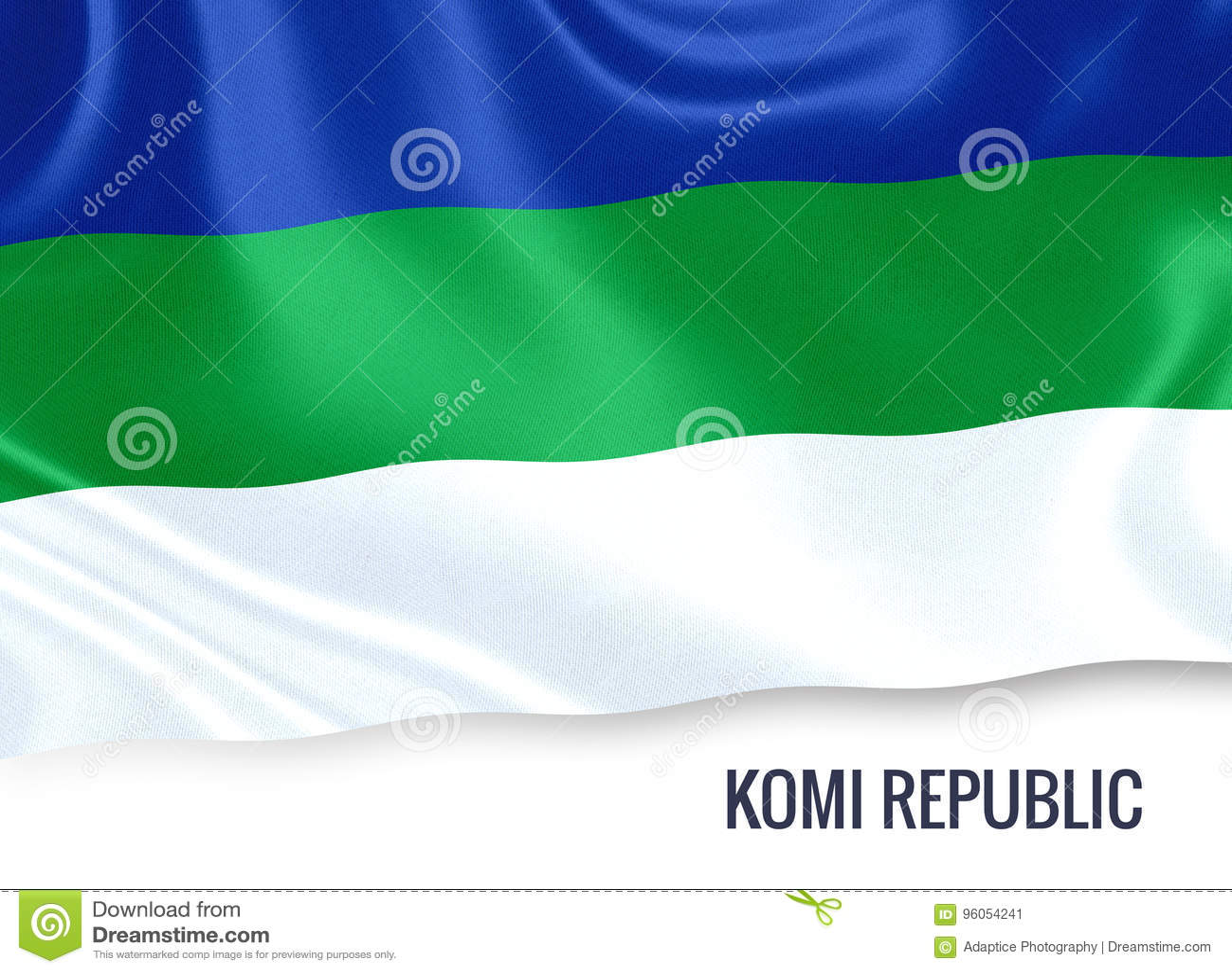 Drapeau russe de République du Komi d état ondulant sur un CCB blanc d isolement