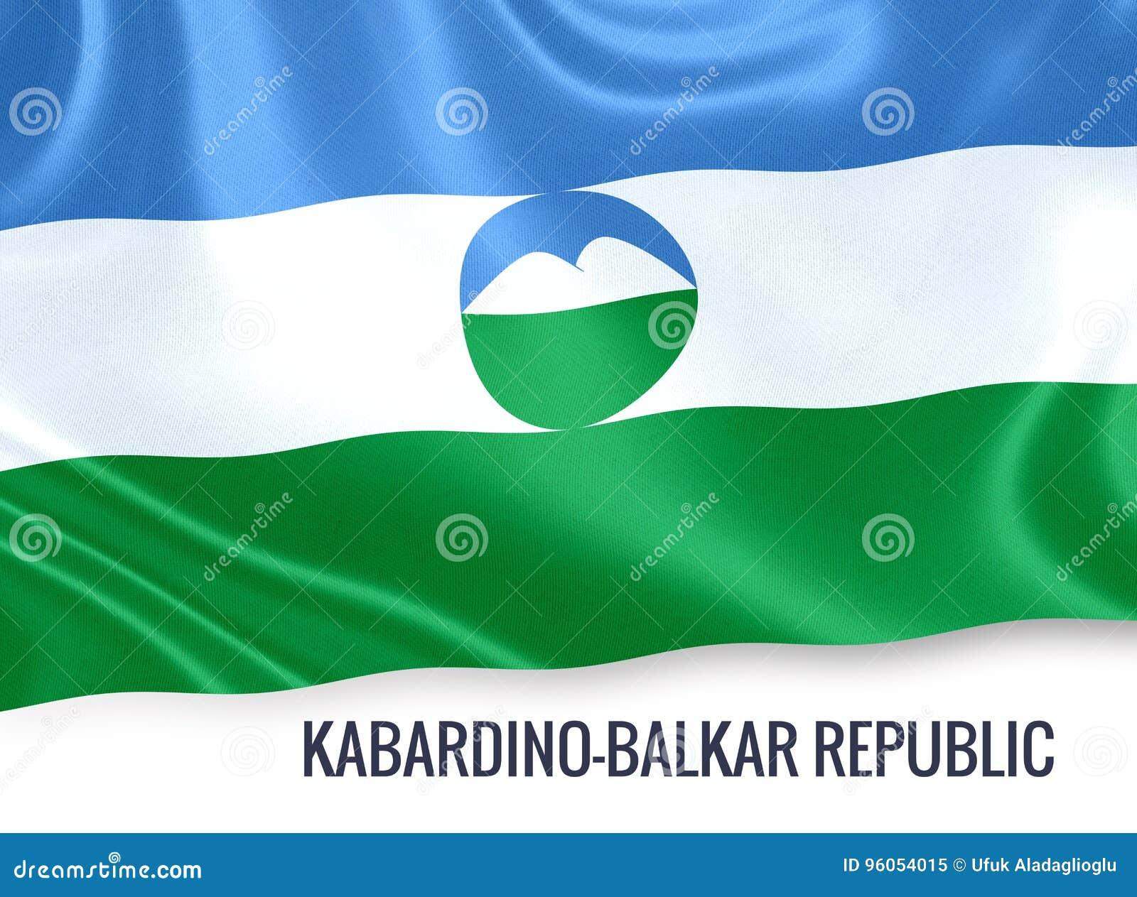 Drapeau russe de République de Kabardino Balkar d état ondulant sur un isolat