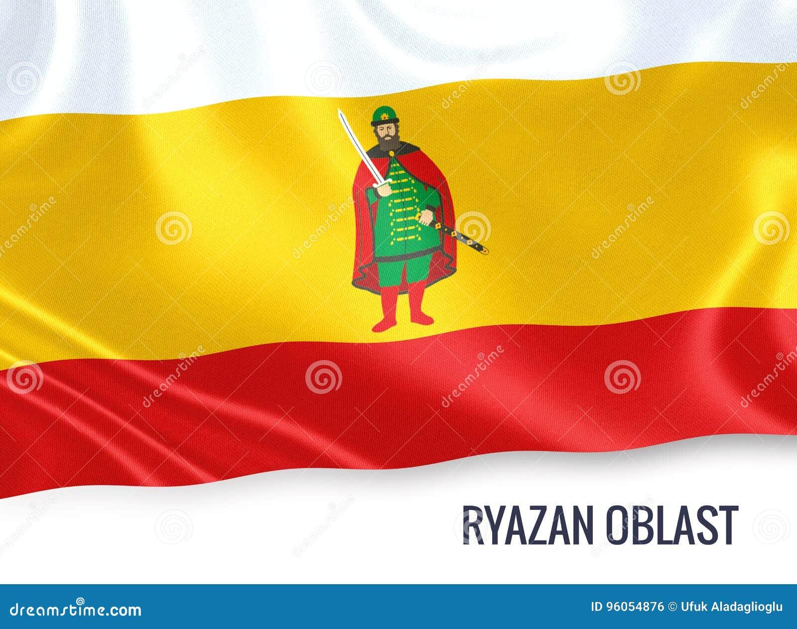 Drapeau russe de Riazan Oblast d état ondulant sur un CCB blanc d isolement