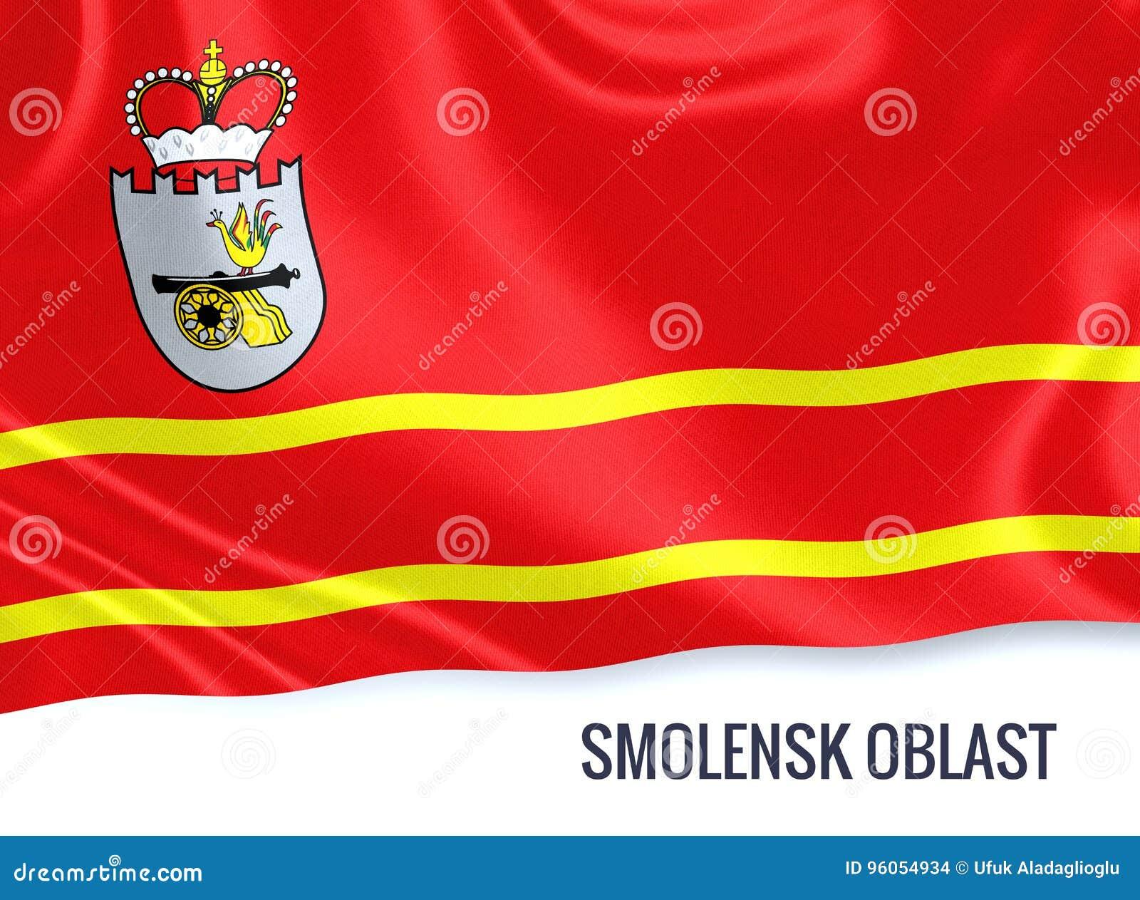 Drapeau russe de Smolensk Oblast d état ondulant sur un b blanc d isolement