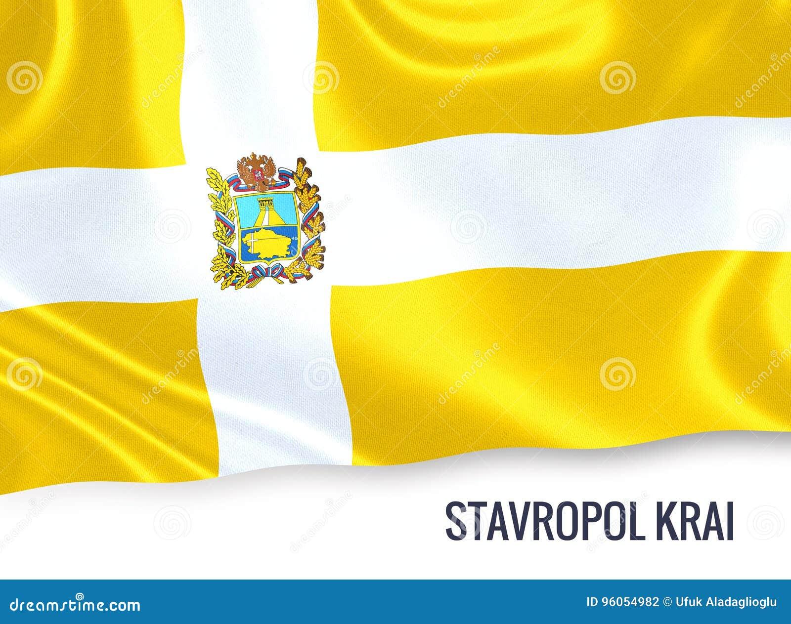 Drapeau russe de Stavropol Krai d état ondulant sur un Ba blanc d isolement
