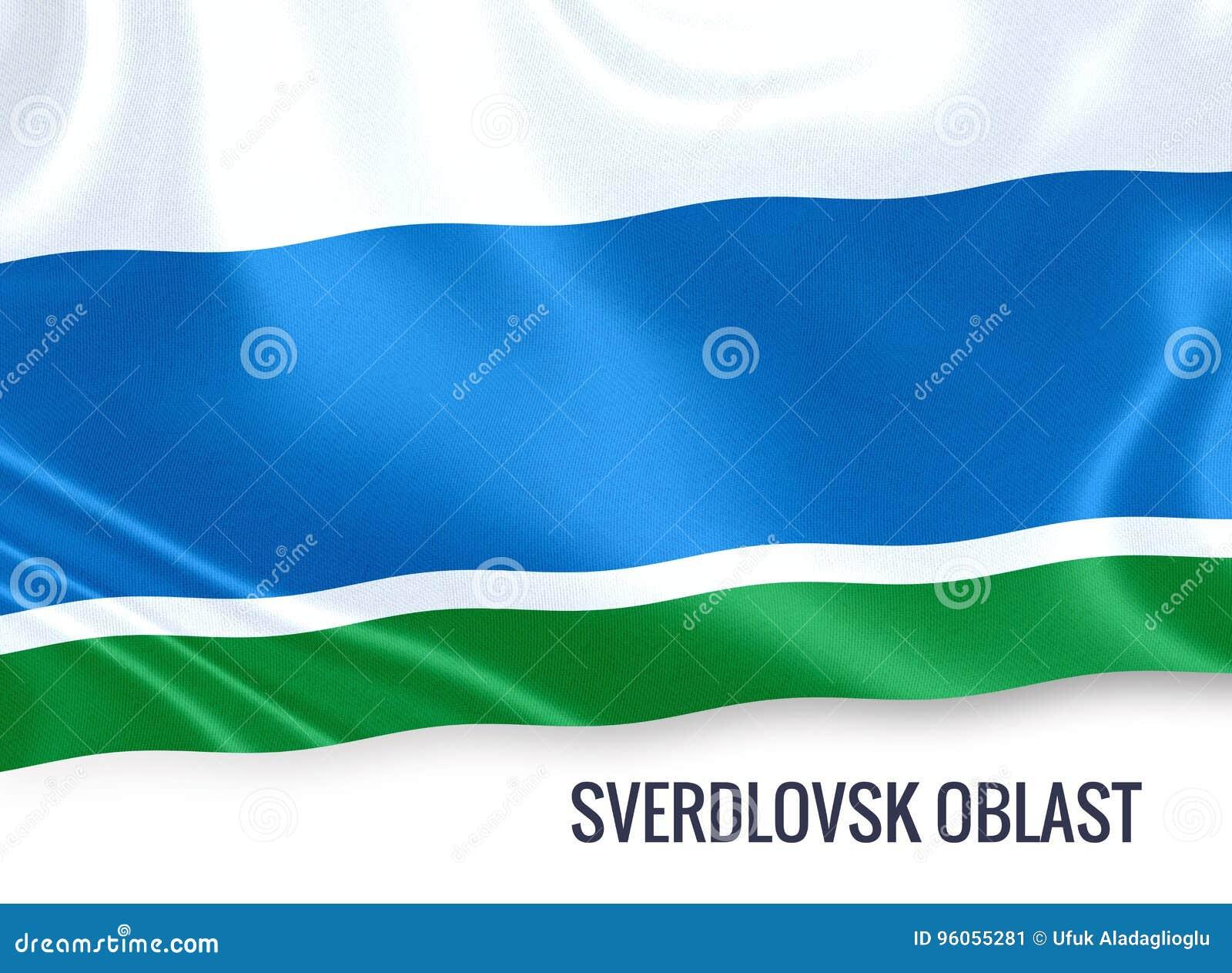 Drapeau russe de Sverdlovsk Oblast d état ondulant sur un blanc d isolement