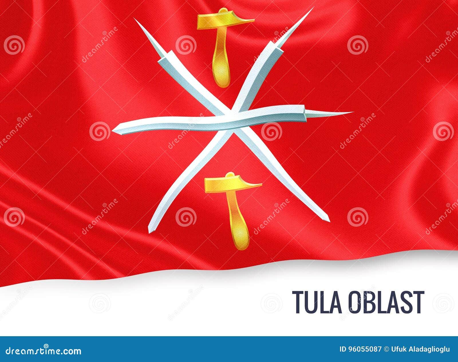 Drapeau russe de Tula Oblast d état ondulant sur un backg blanc d isolement