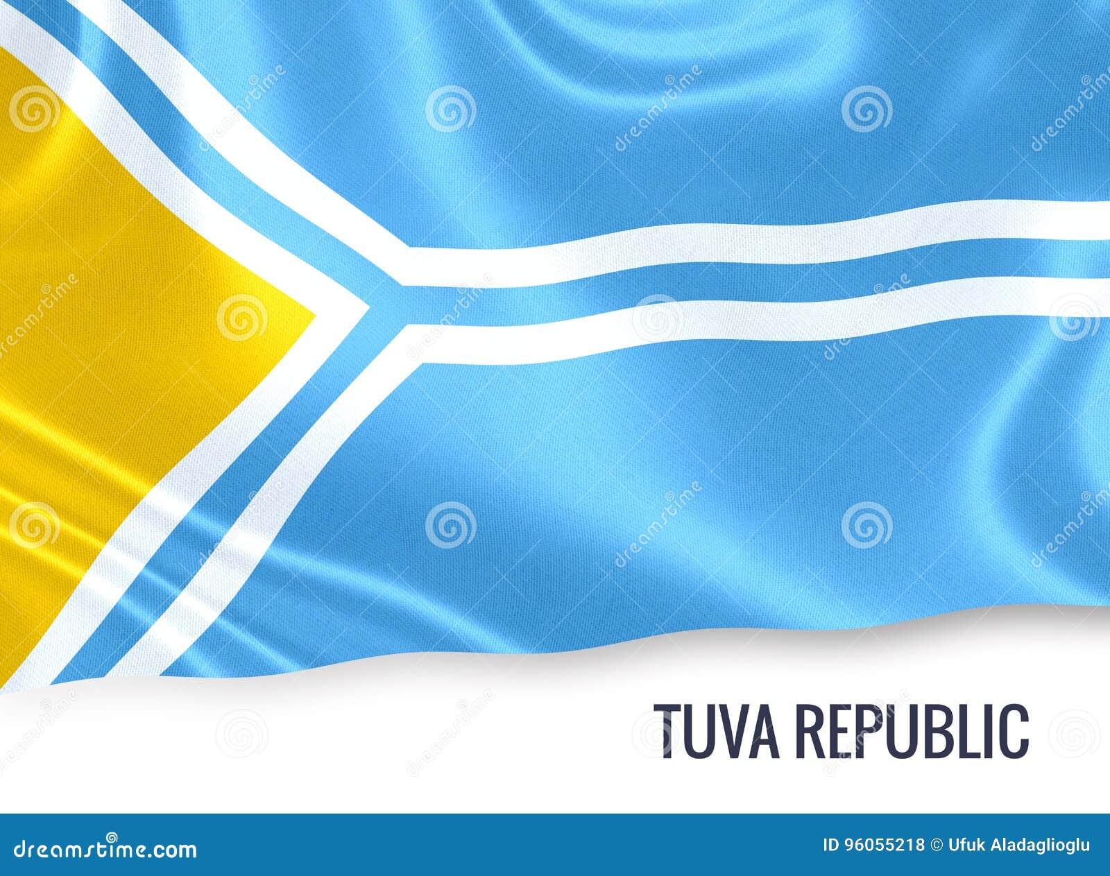 Drapeau russe de Tuva Republic d état ondulant sur un CCB blanc d isolement