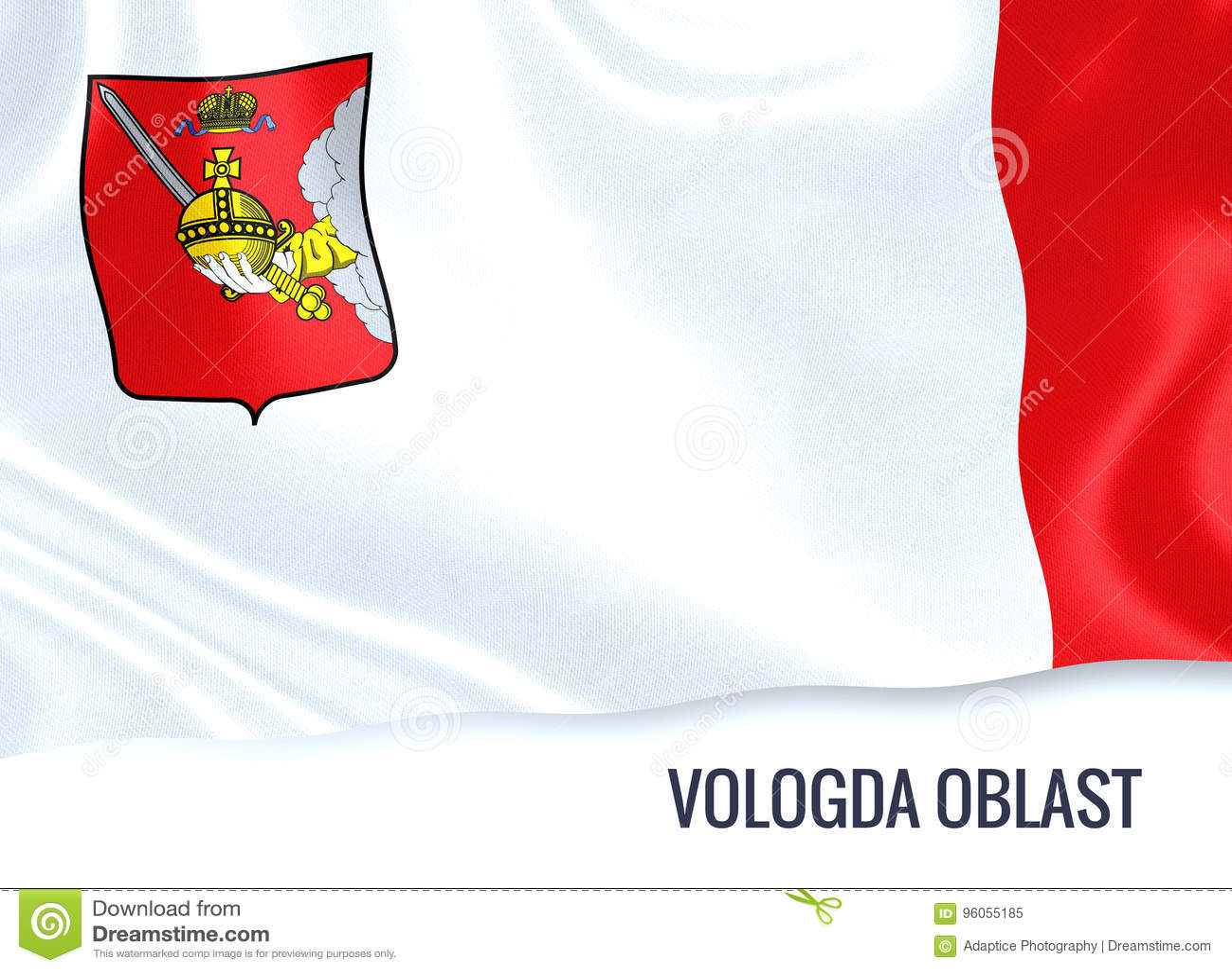 Drapeau russe de Vologda Oblast d état ondulant sur un Ba blanc d isolement