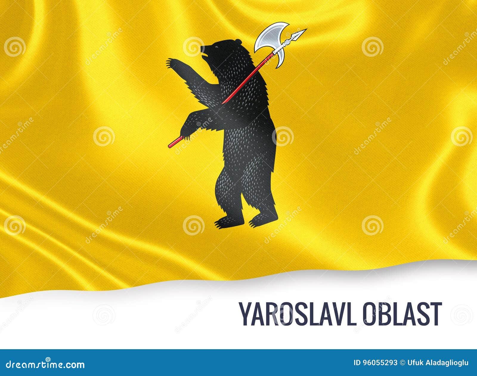 Drapeau russe de Yaroslavl Oblast d état ondulant sur un blanc d isolement