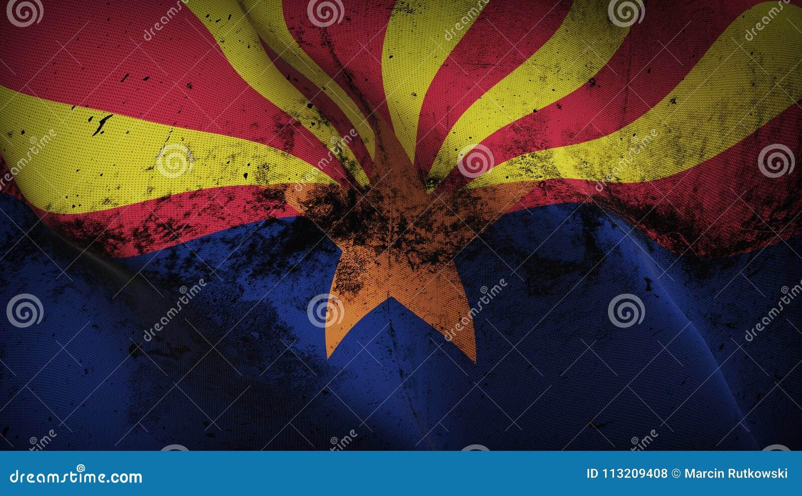Drapeau sale grunge d état de l Arizona USA ondulant sur le vent