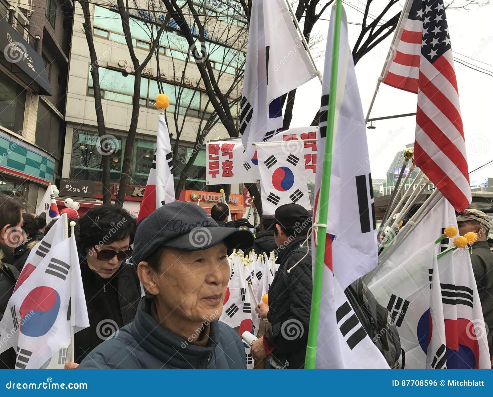 Drapeaux coréens et américains