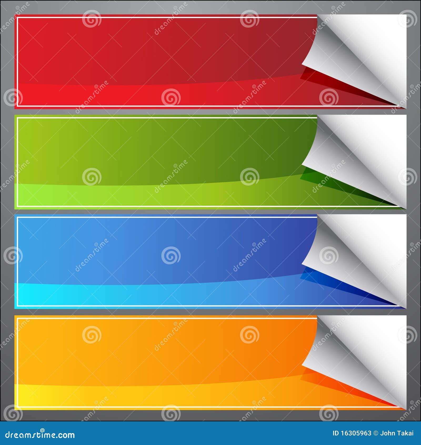 Drapeaux d enroulement de page blanc