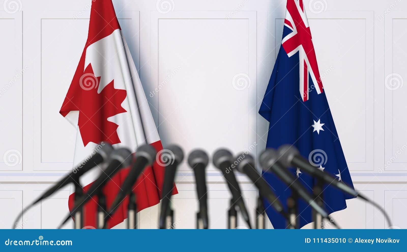 Drapeaux de Canada et d Australie à la réunion ou à la conférence internationale rendu 3d