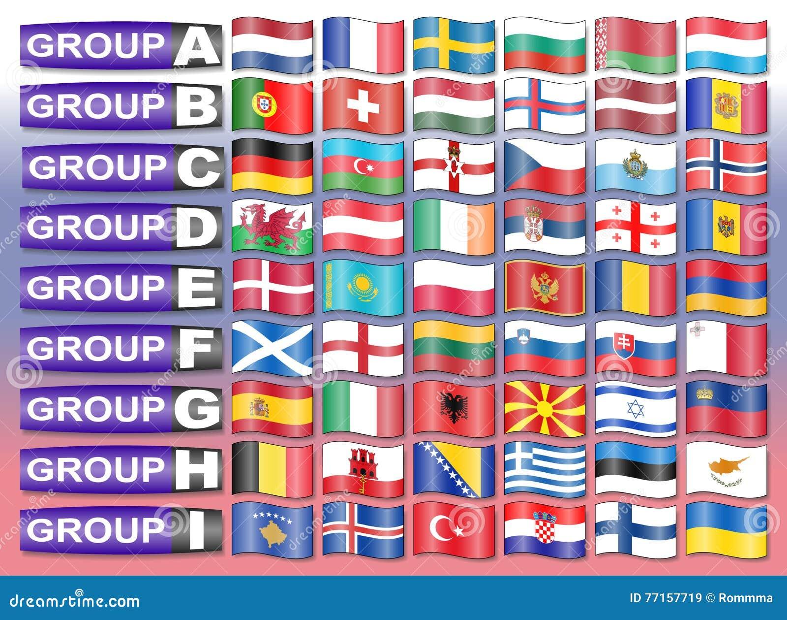 Drapeaux de groupe européen du football