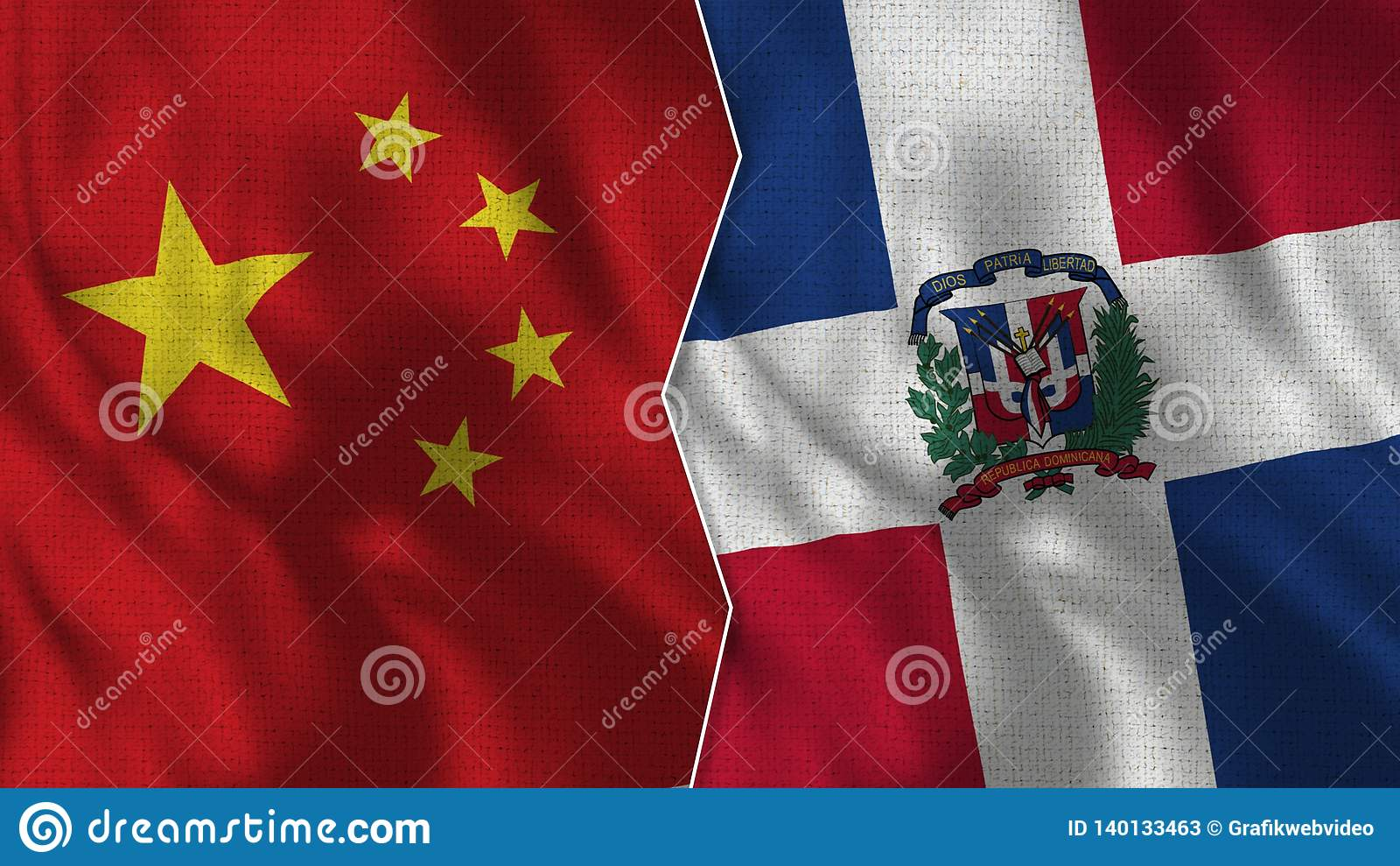 Drapeaux de la Chine et de la République Dominicaine demi ensemble