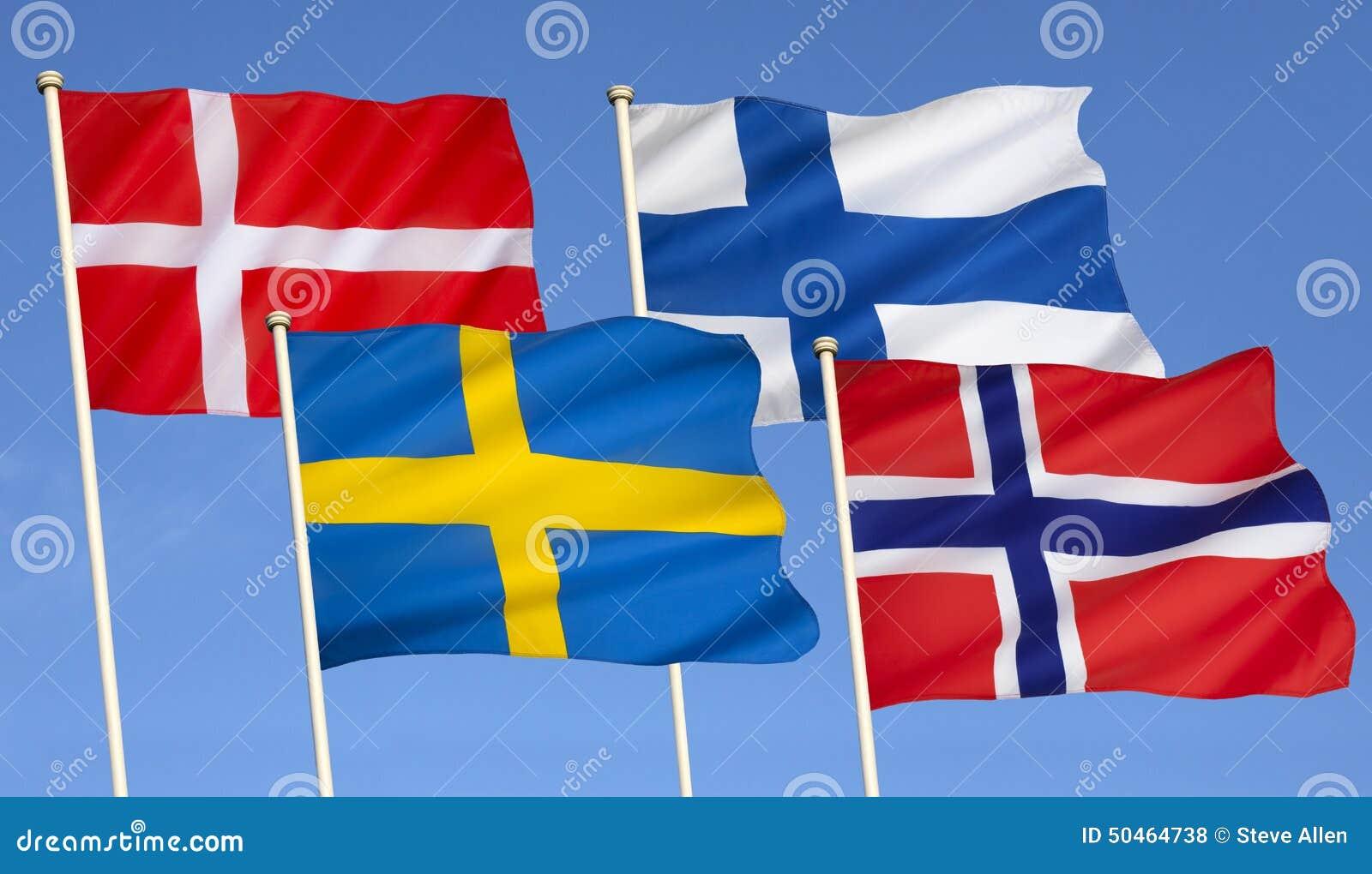 Drapeaux De La Scandinavie L 39 Europe Du Nord Photo Stock