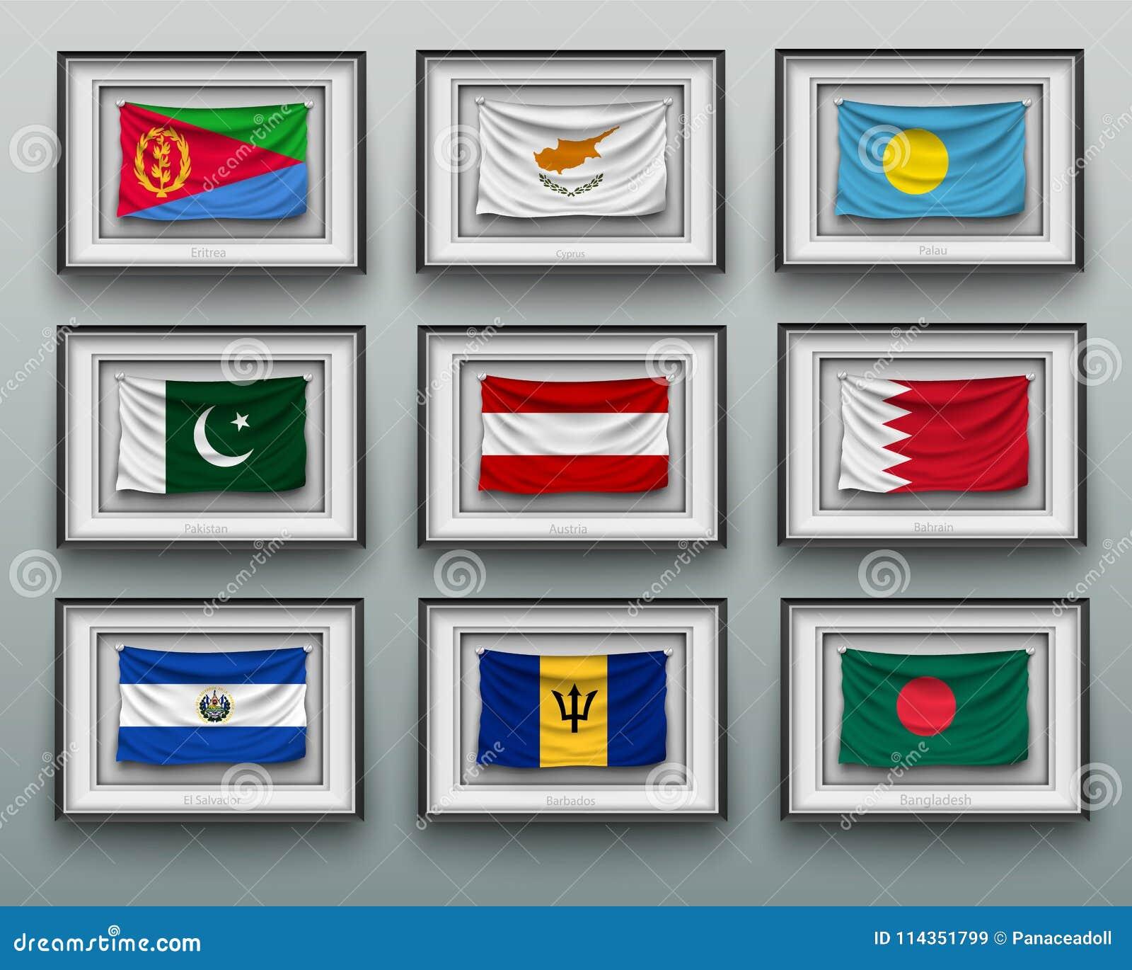drapeaux de ondulation dans le cadre de tableau sur le mur