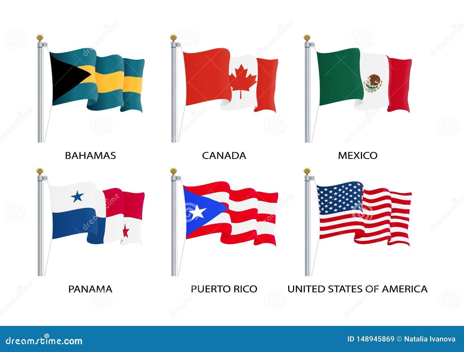 Drapeaux de ondulation réalistes de continent de l Amérique du Nord Les Etats-Unis, Canada, Bahamas, Mexique, Panama, drapeau de