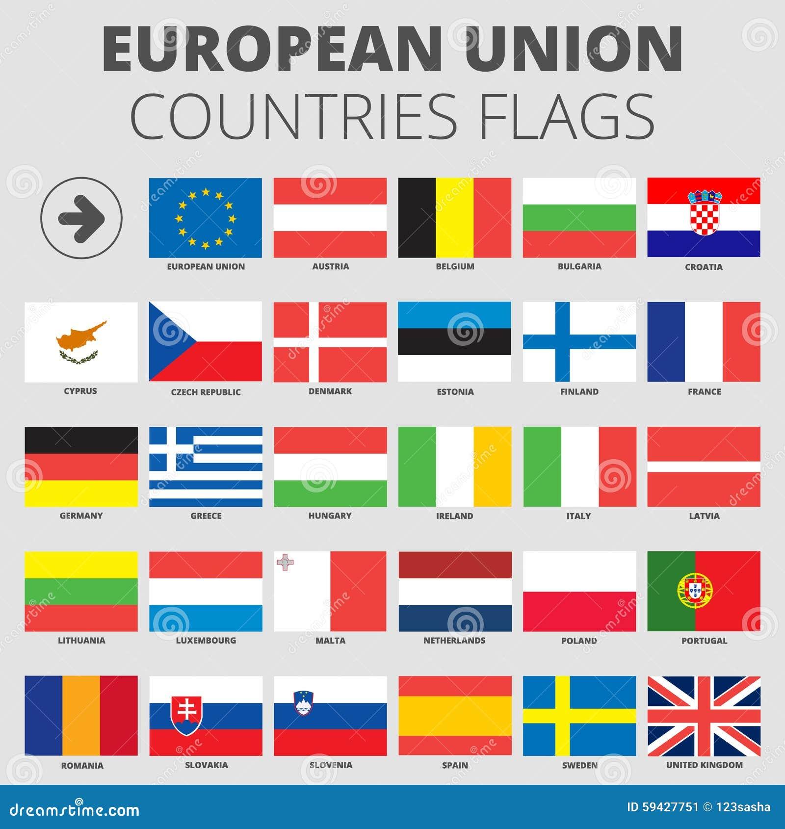 Populaire Drapeaux De Pays De L'Union Européenne Illustration de Vecteur  EP04