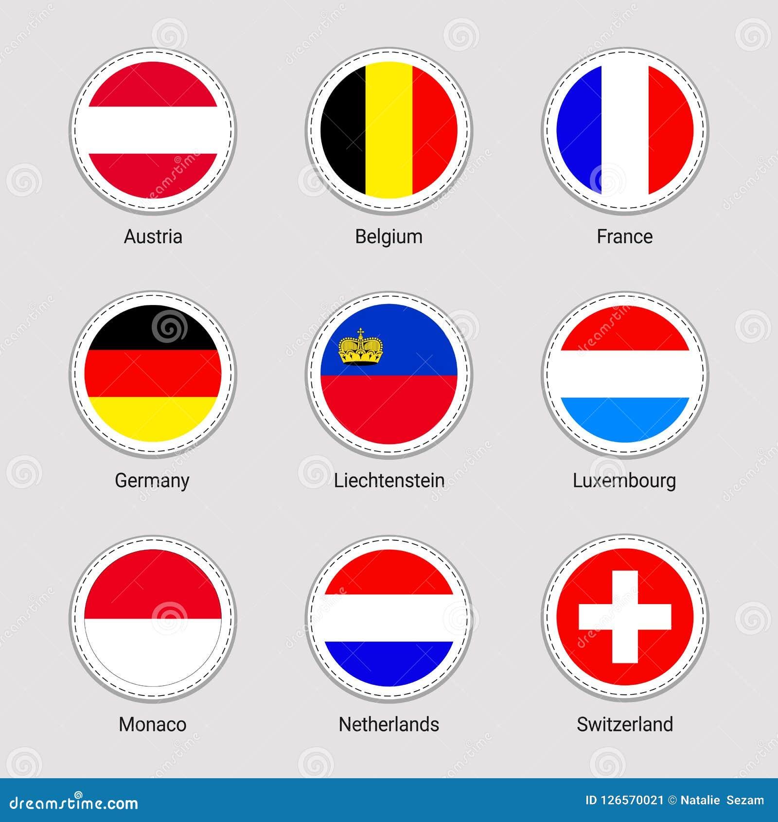 Drapeaux de pays européens réglés Collection d autocollants de drapeau de vecteur Éléments ronds États d Europe occidentale L Aut