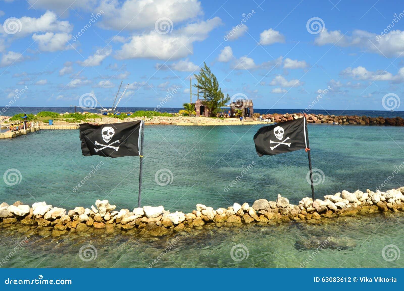 Download Drapeaux de pirate photo stock. Image du crossbones, copie - 63083612