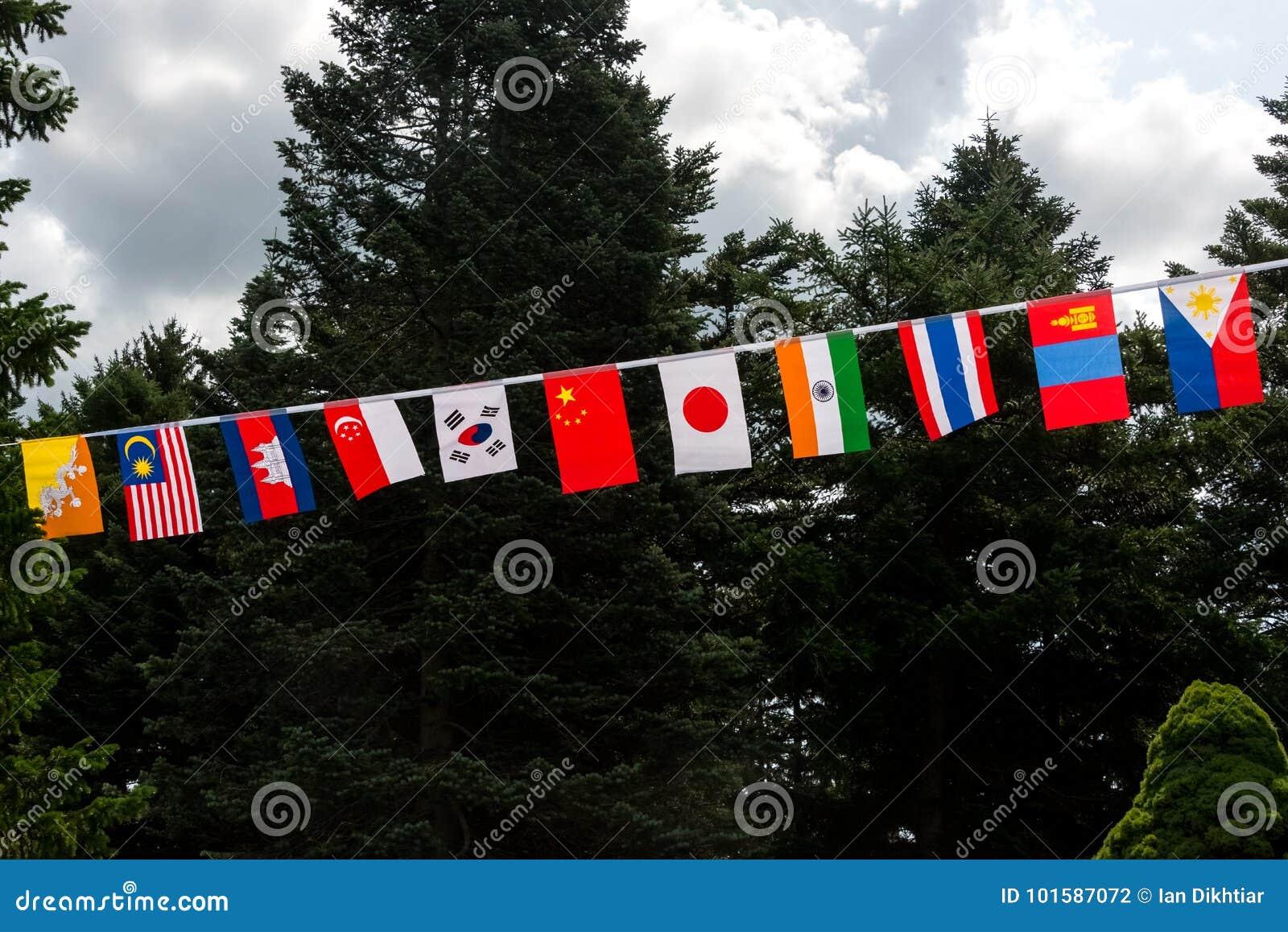 Drapeaux de tous les pays asiatiques en parc