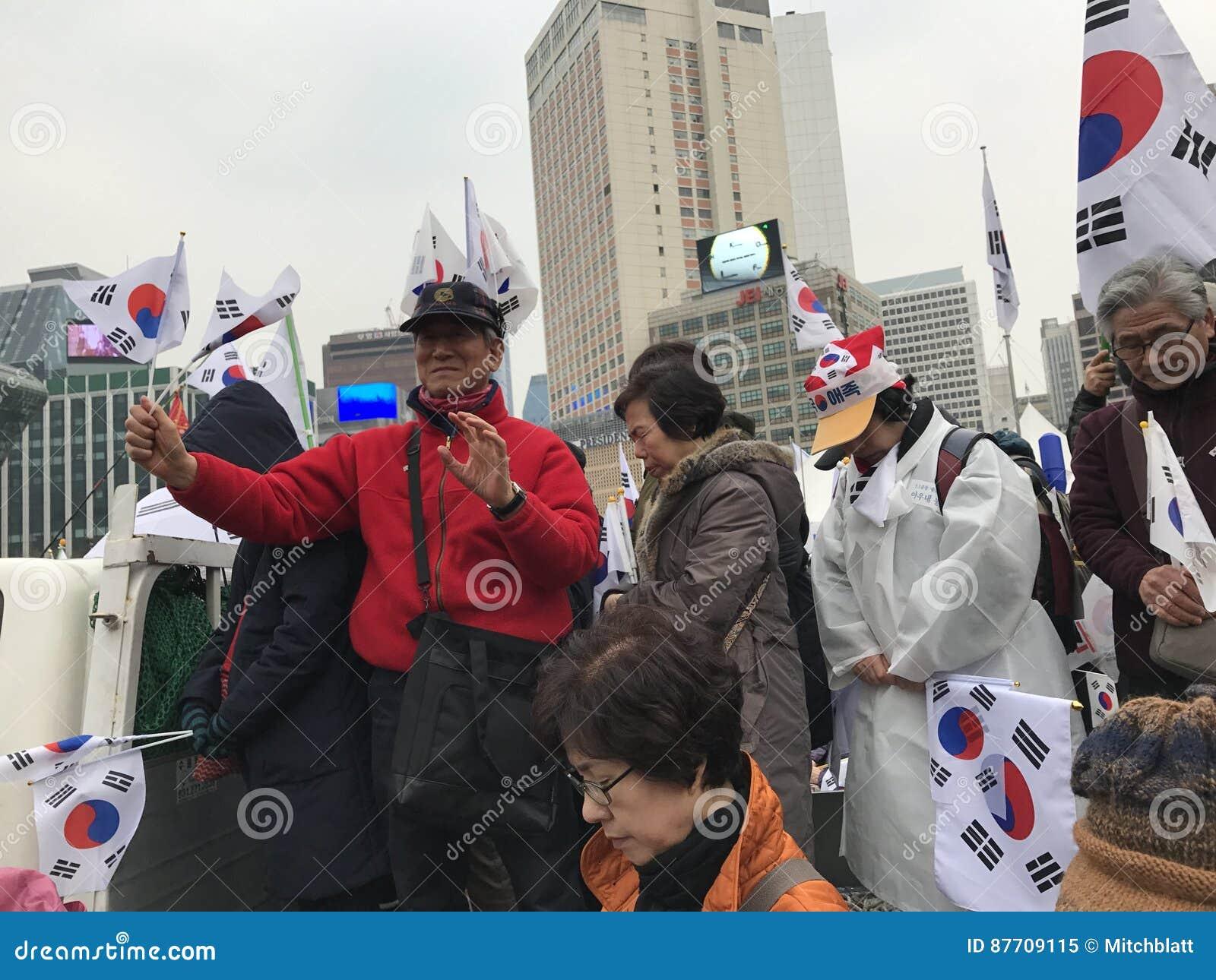 Drapeaux de vague de Coréens, mise en accusation de protestation de parc