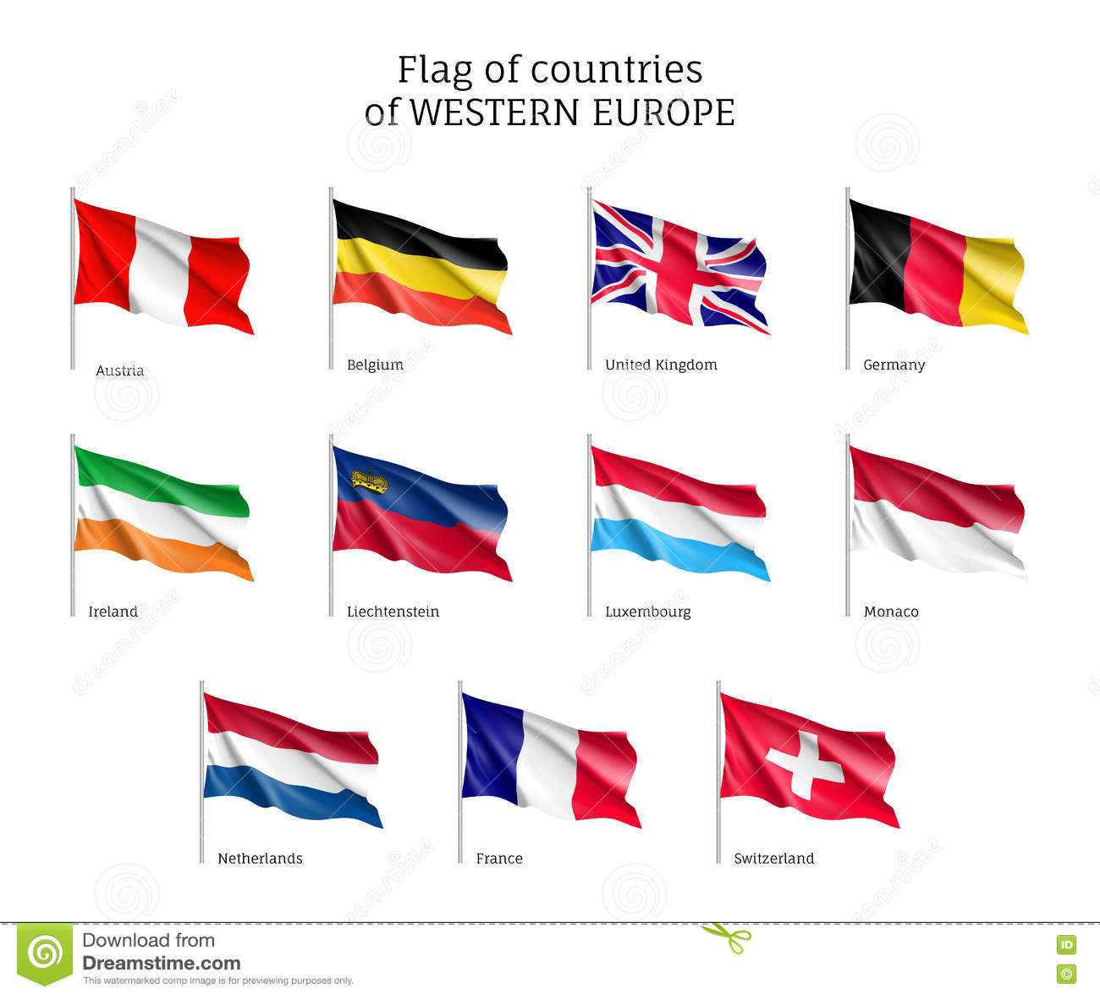 Célèbre Drapeaux Des Pays D'Europe Occidentale Illustration de Vecteur  WU42