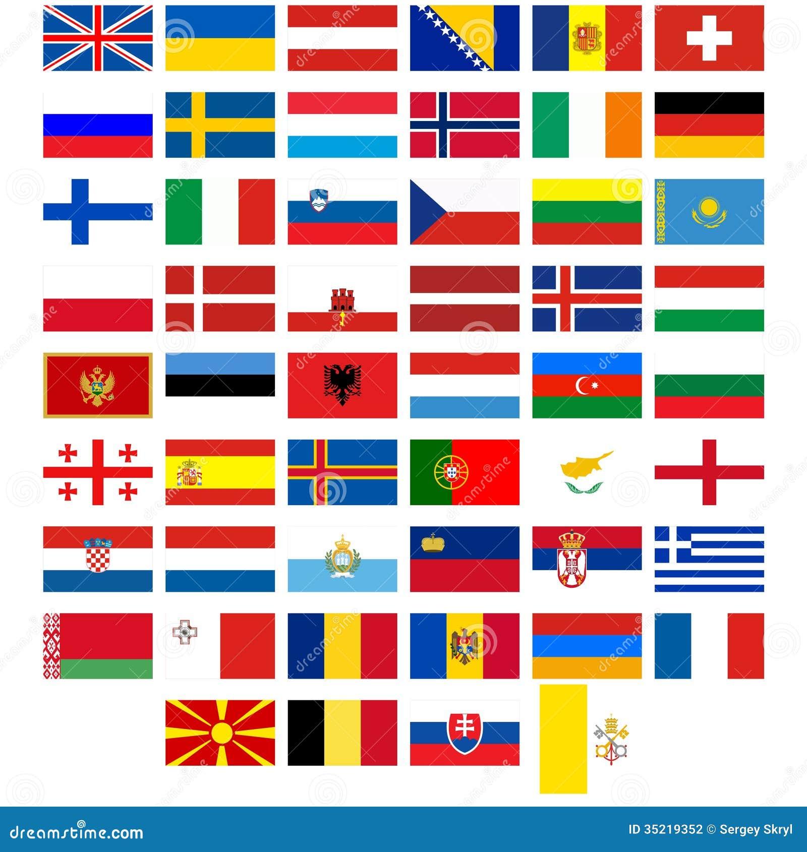 Célèbre Drapeaux Des Pays De L'Europe Illustration de Vecteur - Image  IO49