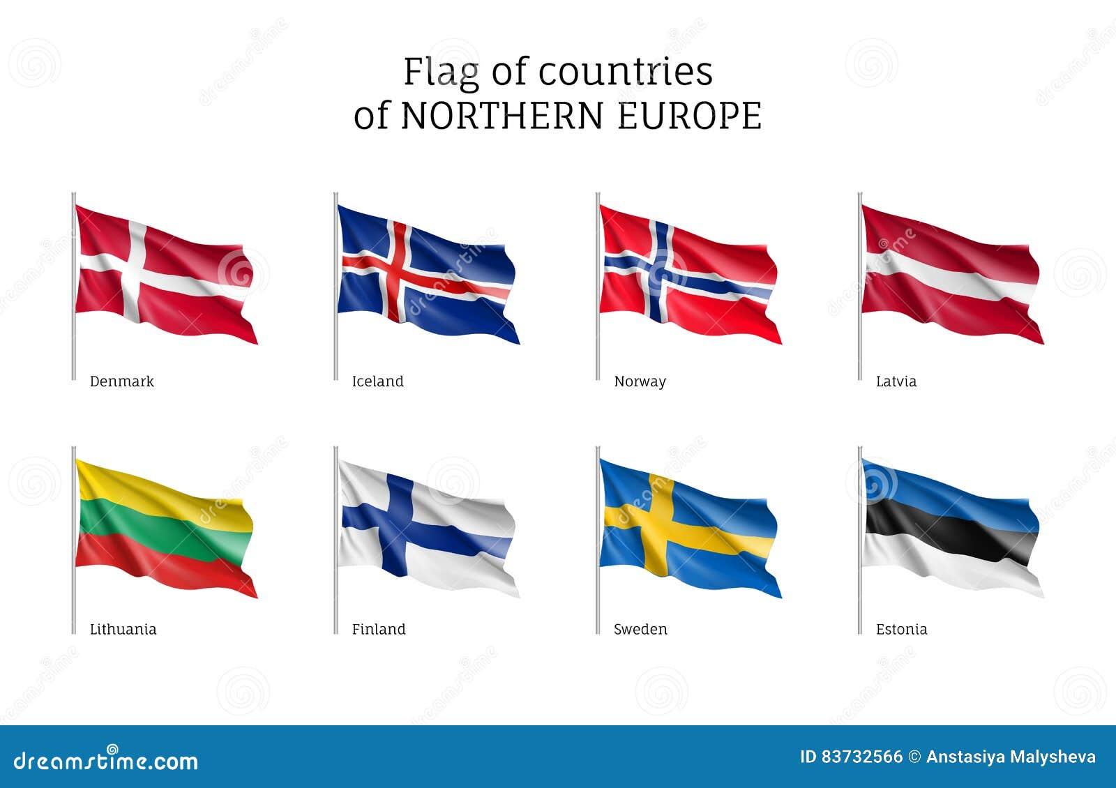 Drapeaux des pays de l Europe du Nord