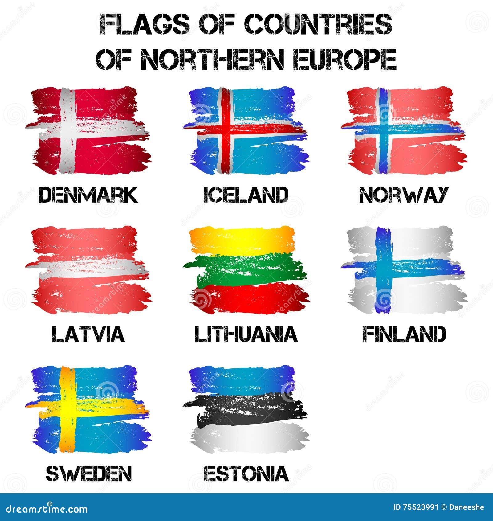 Populaire Drapeaux Des Pays De L'Europe Du Nord Illustration de Vecteur  EP04