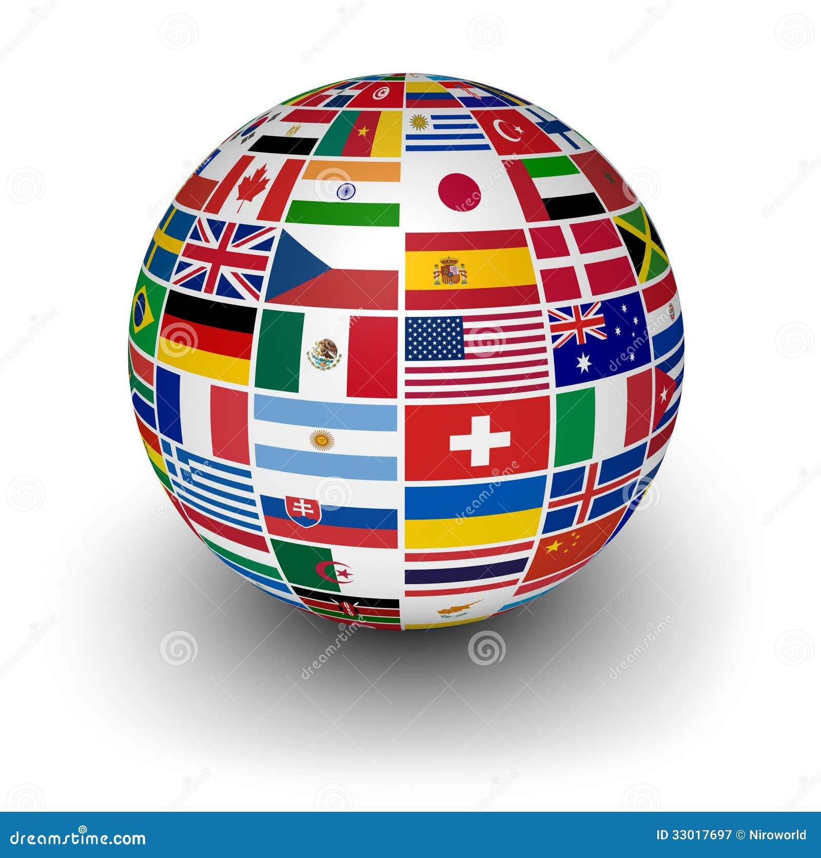 Drapeaux internationaux du monde de globe photographie - Globe maison du monde ...