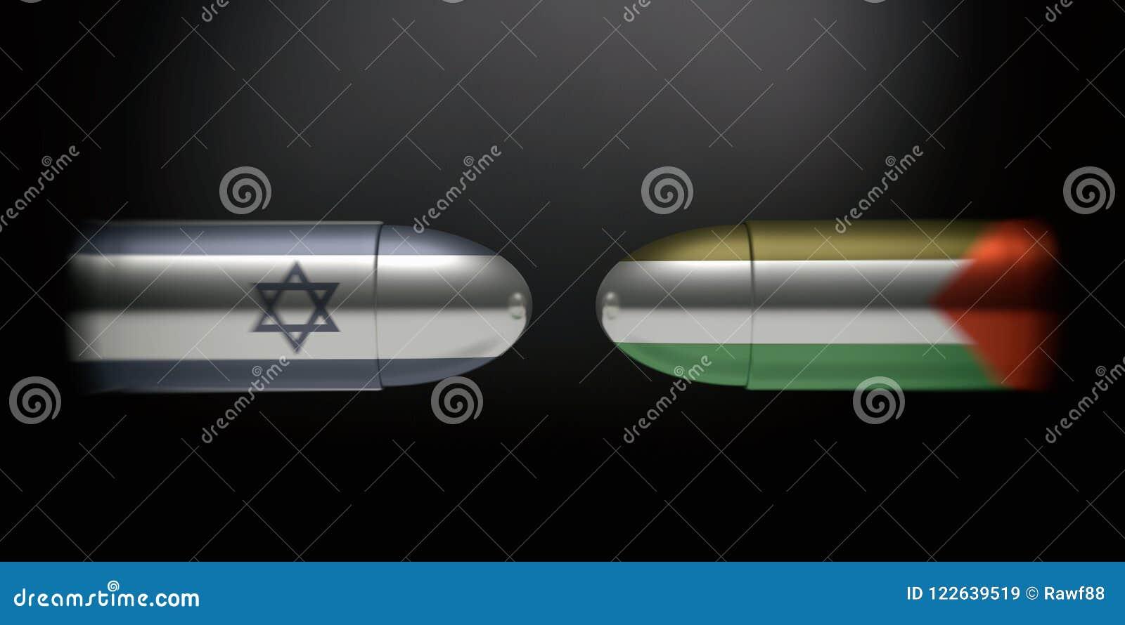 Drapeaux israéliens et palestiniens sur des balles, fond noir illustration 3D