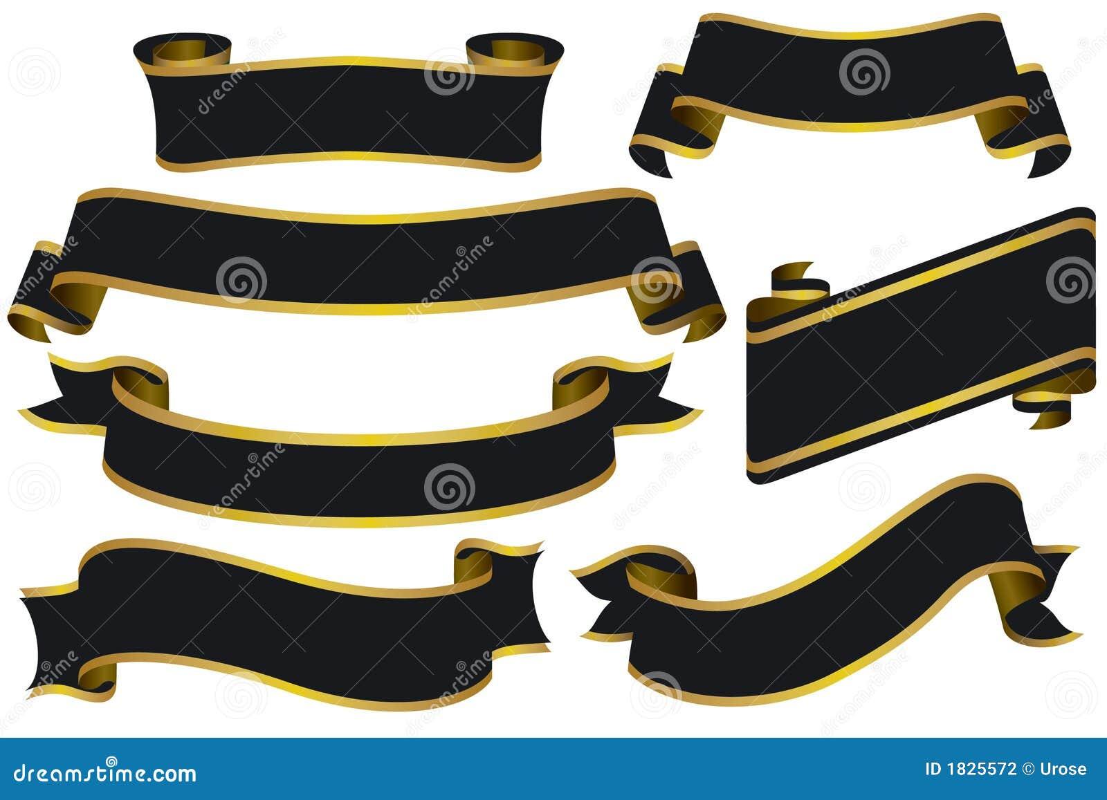 Drapeaux noirs avec de l or