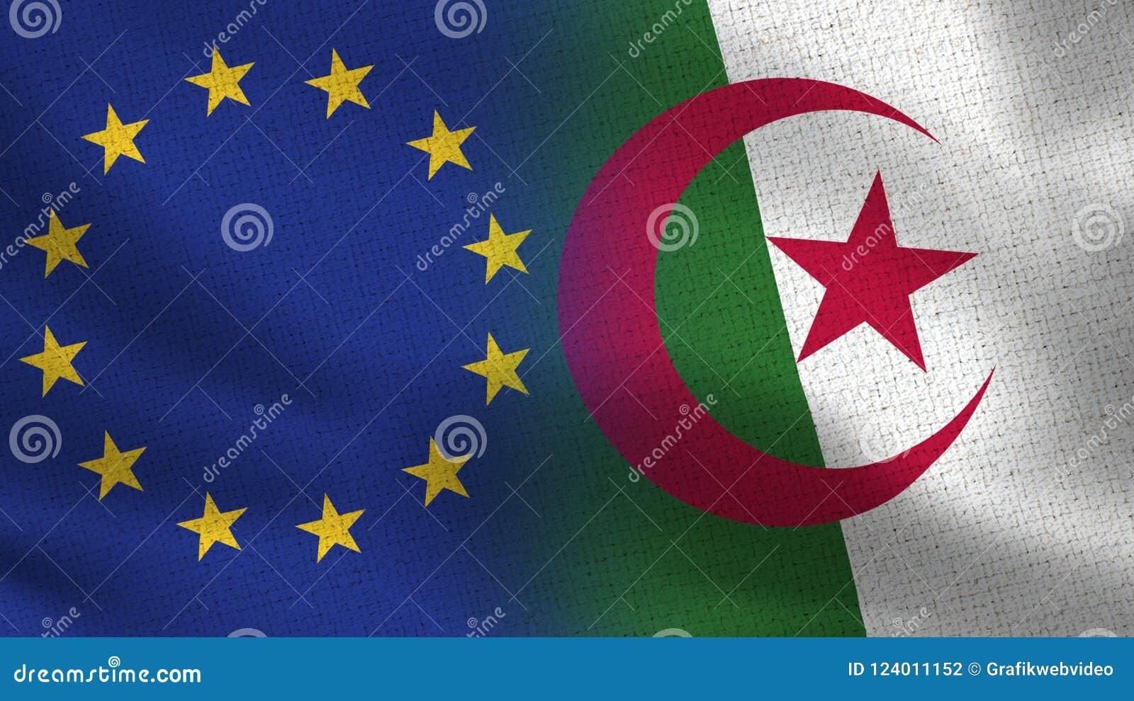 Drapeaux réalistes d UE et de l Algérie demi ensemble