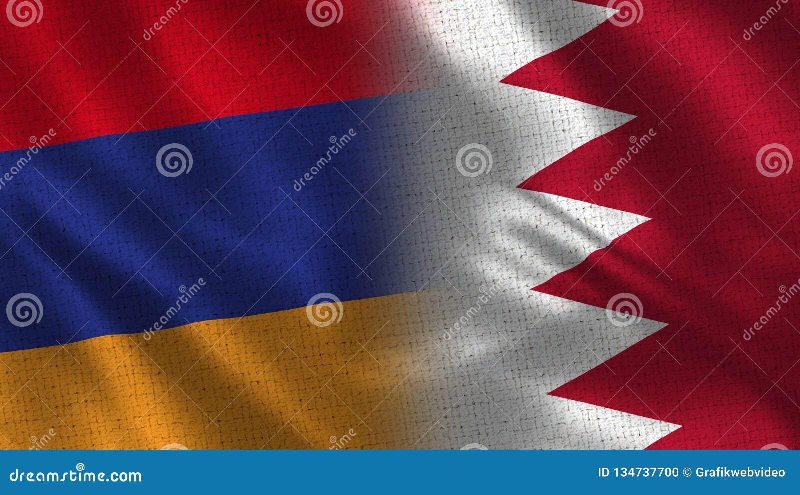 Drapeaux réalistes de l Arménie et du Bahrain demi ensemble