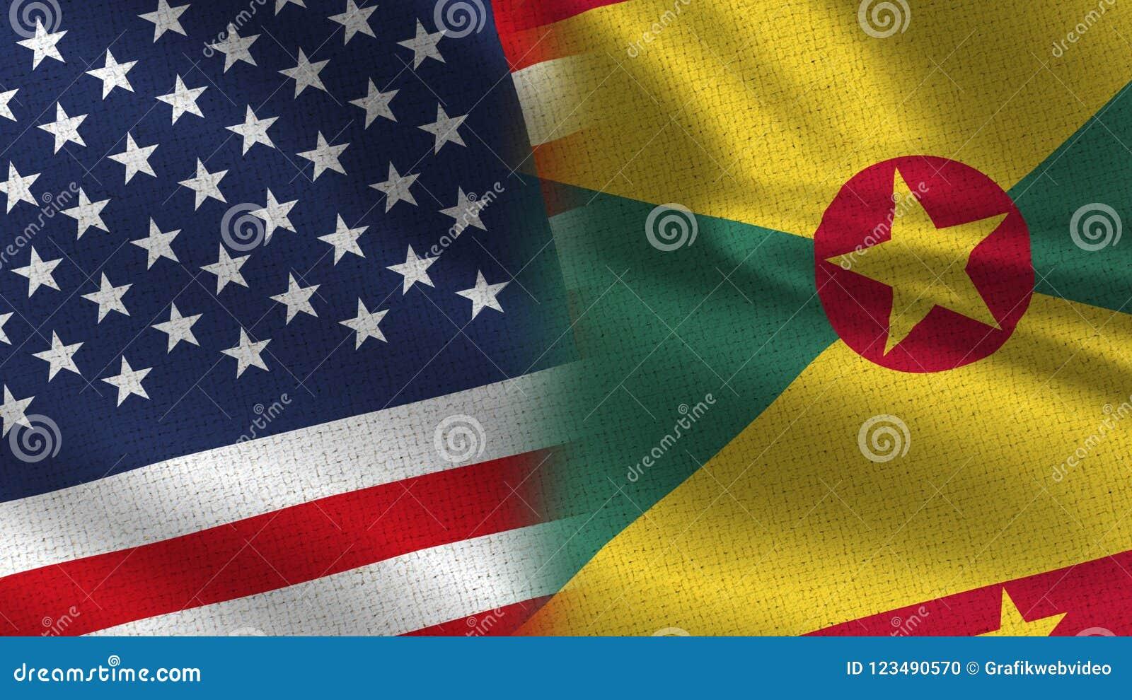Drapeaux réalistes des Etats-Unis Grenada demi ensemble