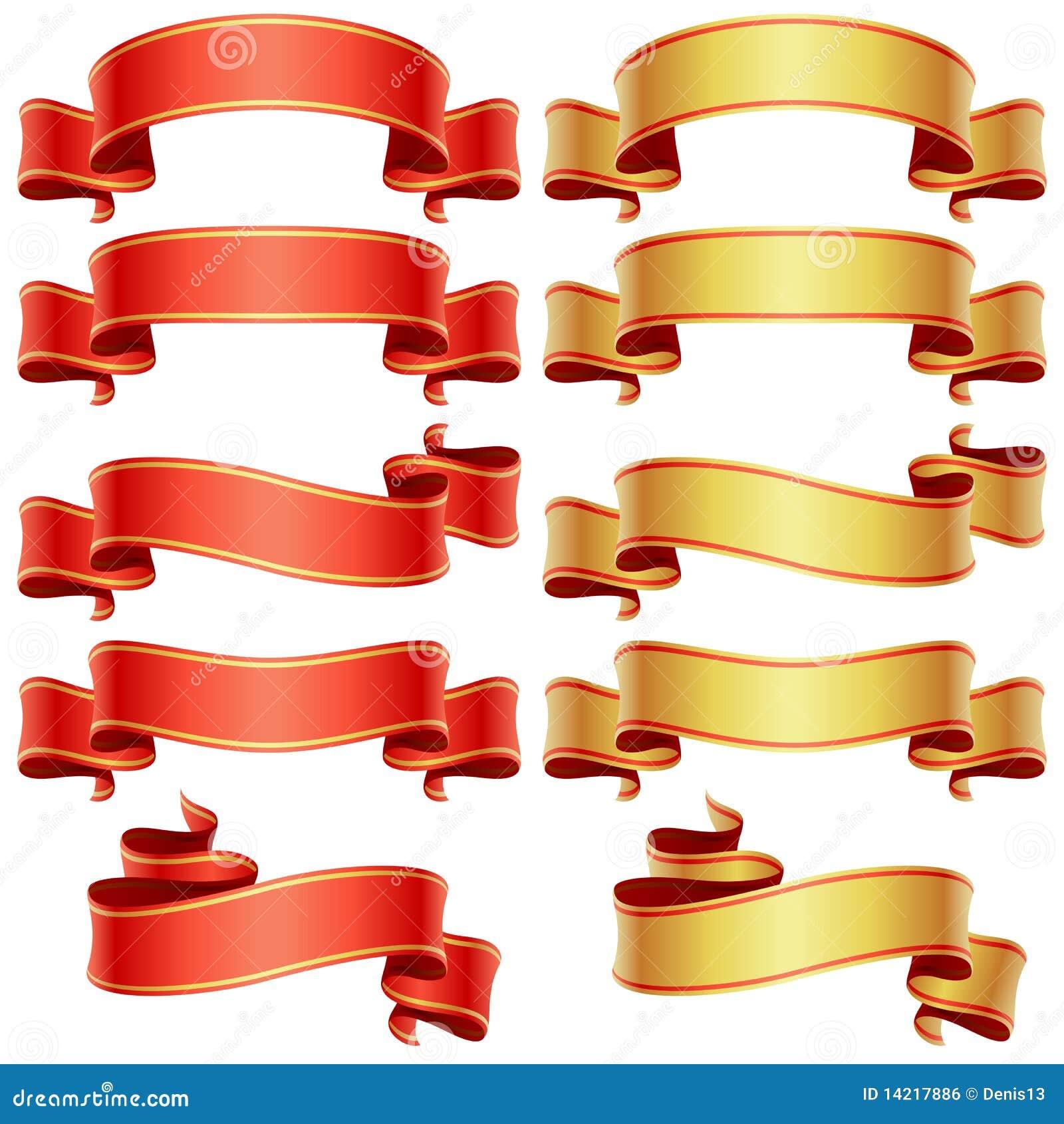 Drapeaux rouges et d or réglés