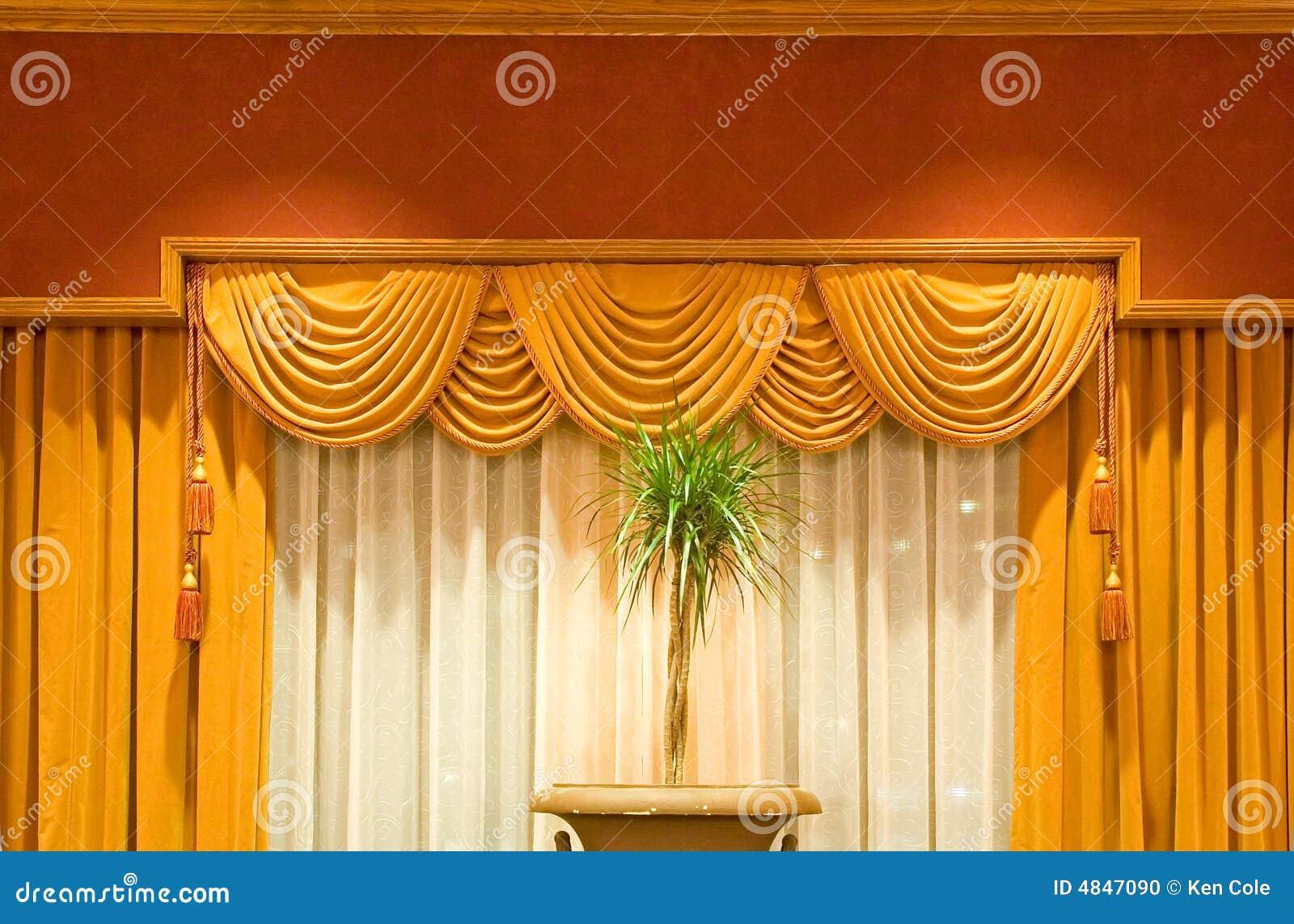 Draped curtains stock photo   image: 4847090