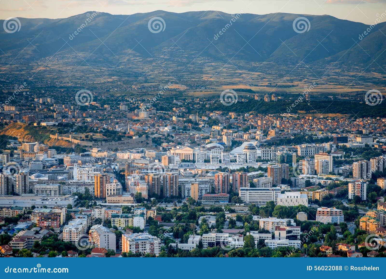 Draufsicht über Skopje-Stadt in Mazedonien