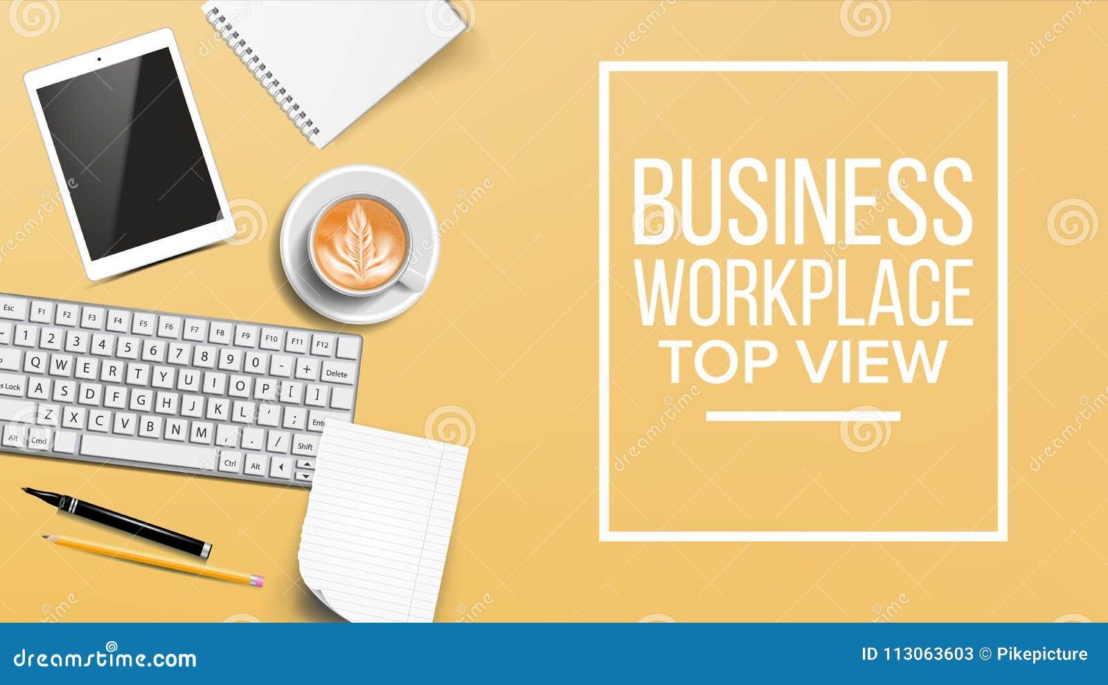 Draufsicht Arbeitsplatz Hintergrund Vektor Entwicklungs Schreibtisch