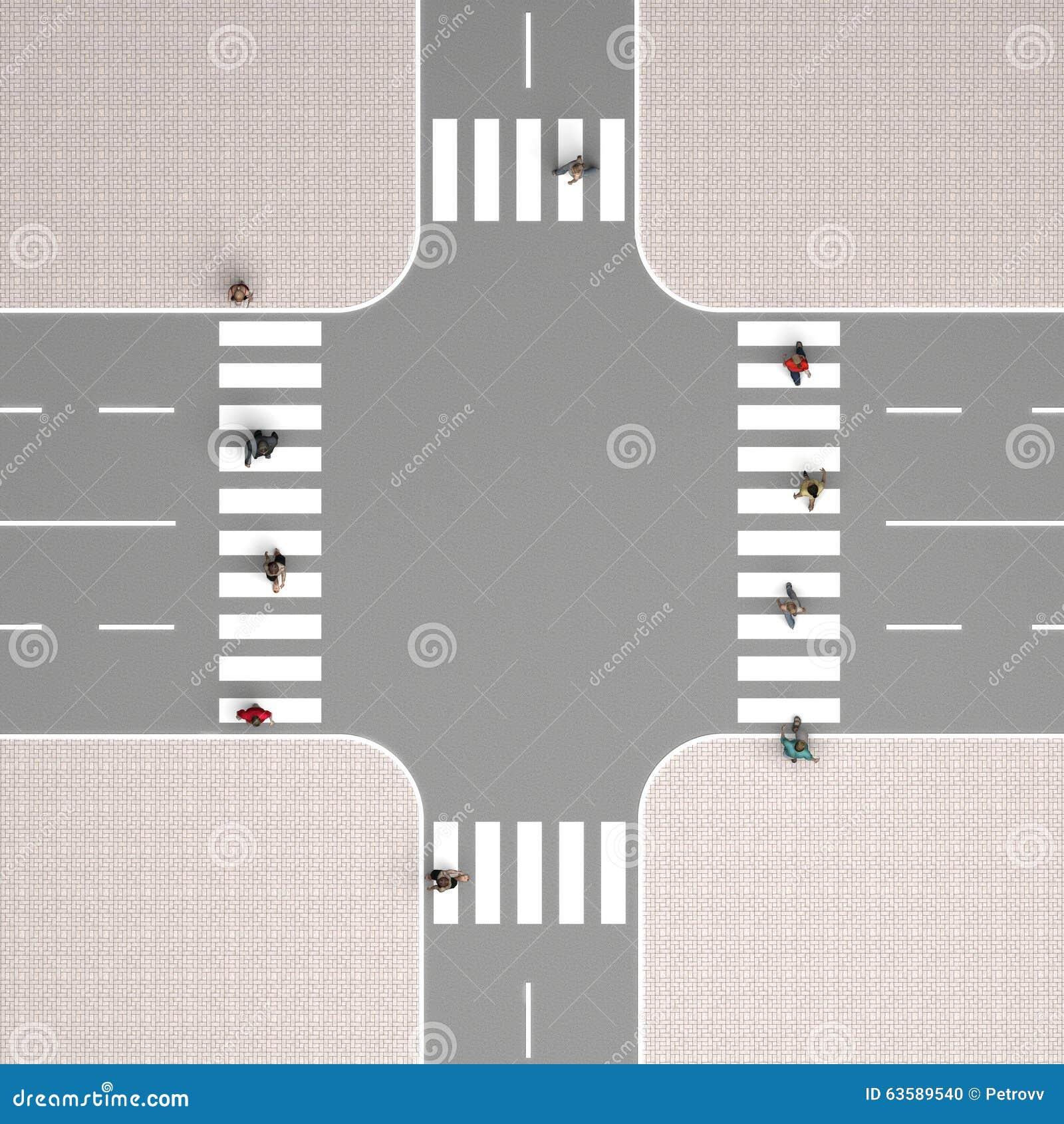 Draufsicht der Kreuzung stock abbildung. Illustration von straße ...