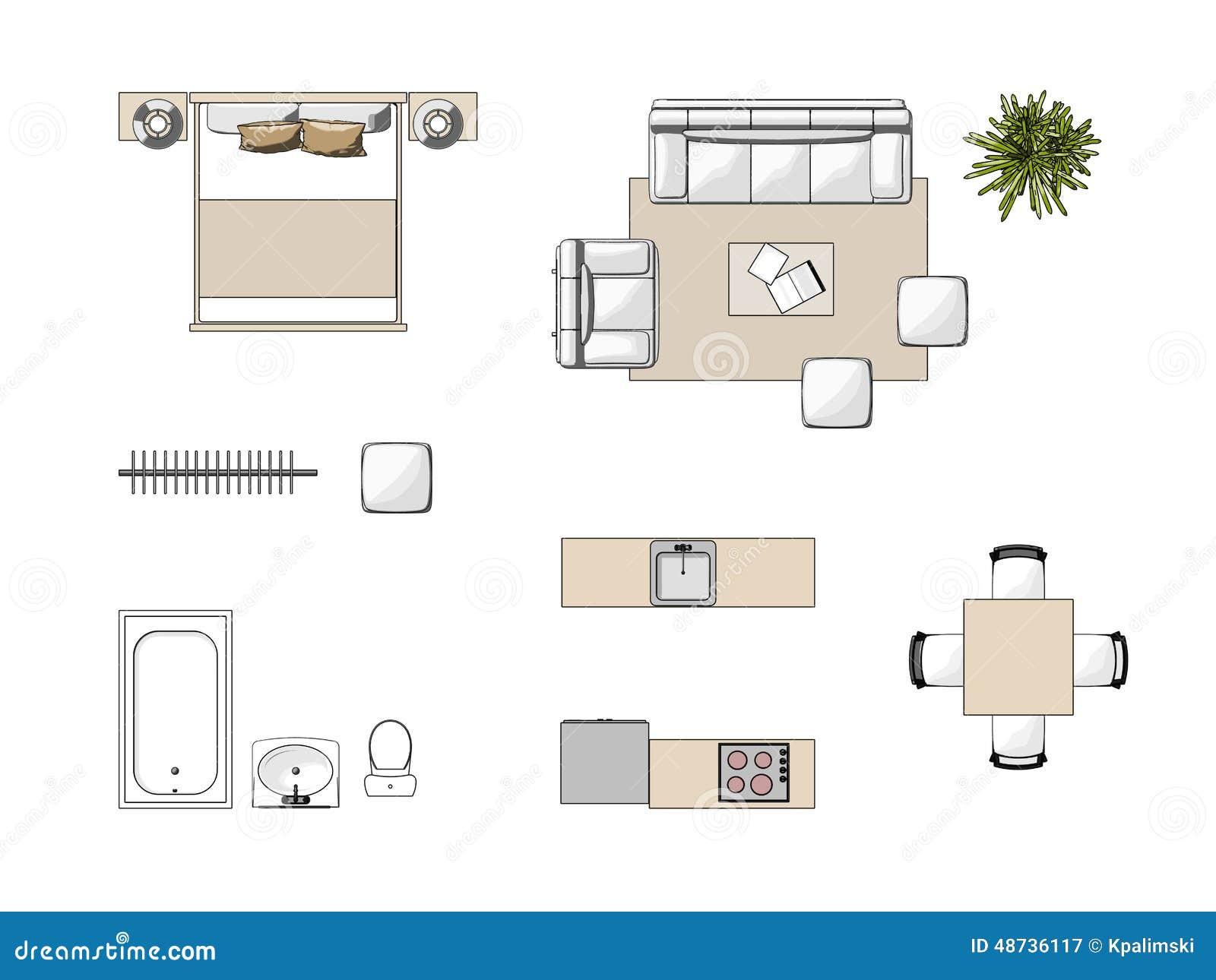 Draufsicht der m bel stock abbildung bild von wanne for Draw a bedroom layout online