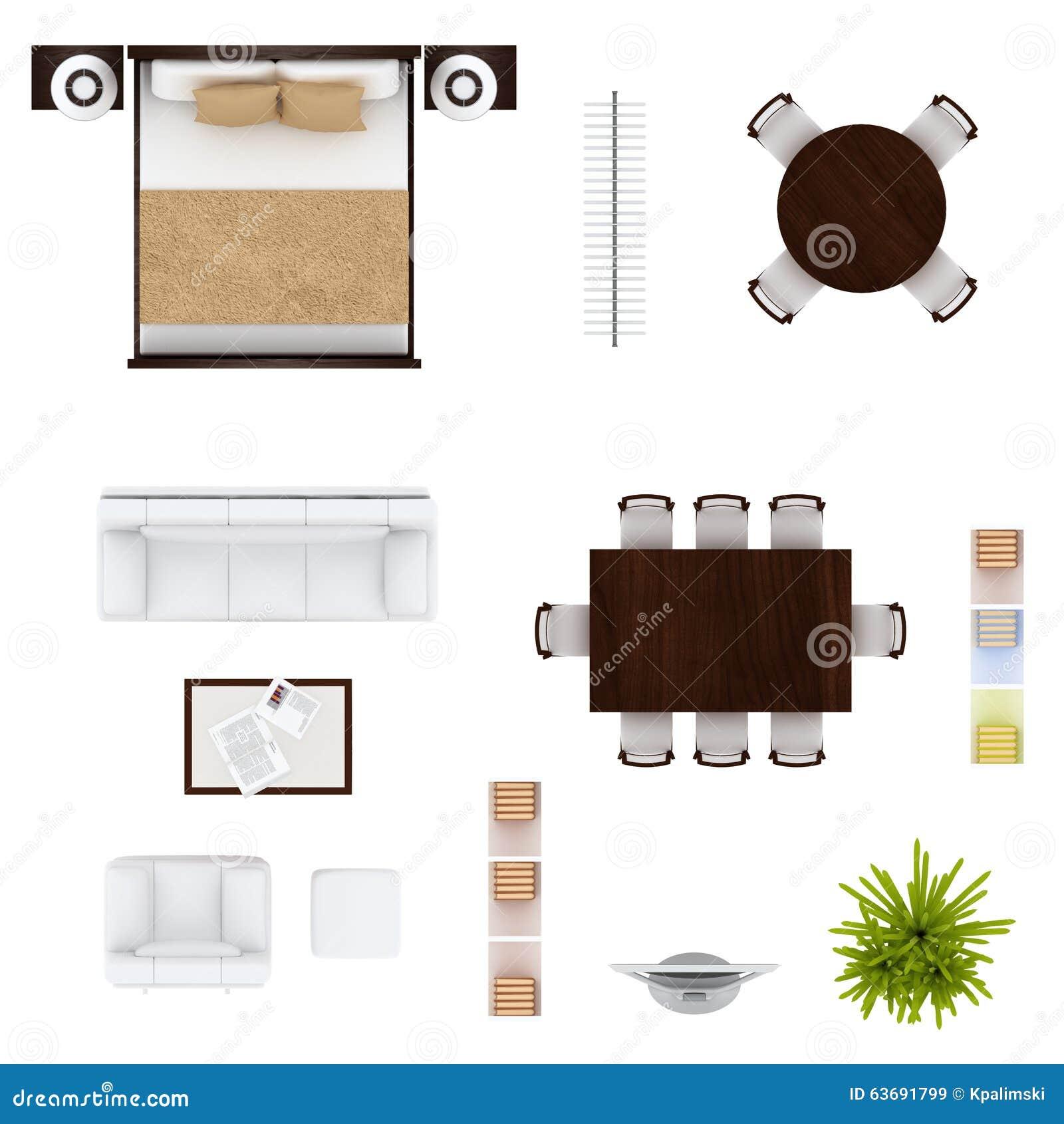 Kitchen Set Top View: Draufsicht Der Möbel Stock Abbildung