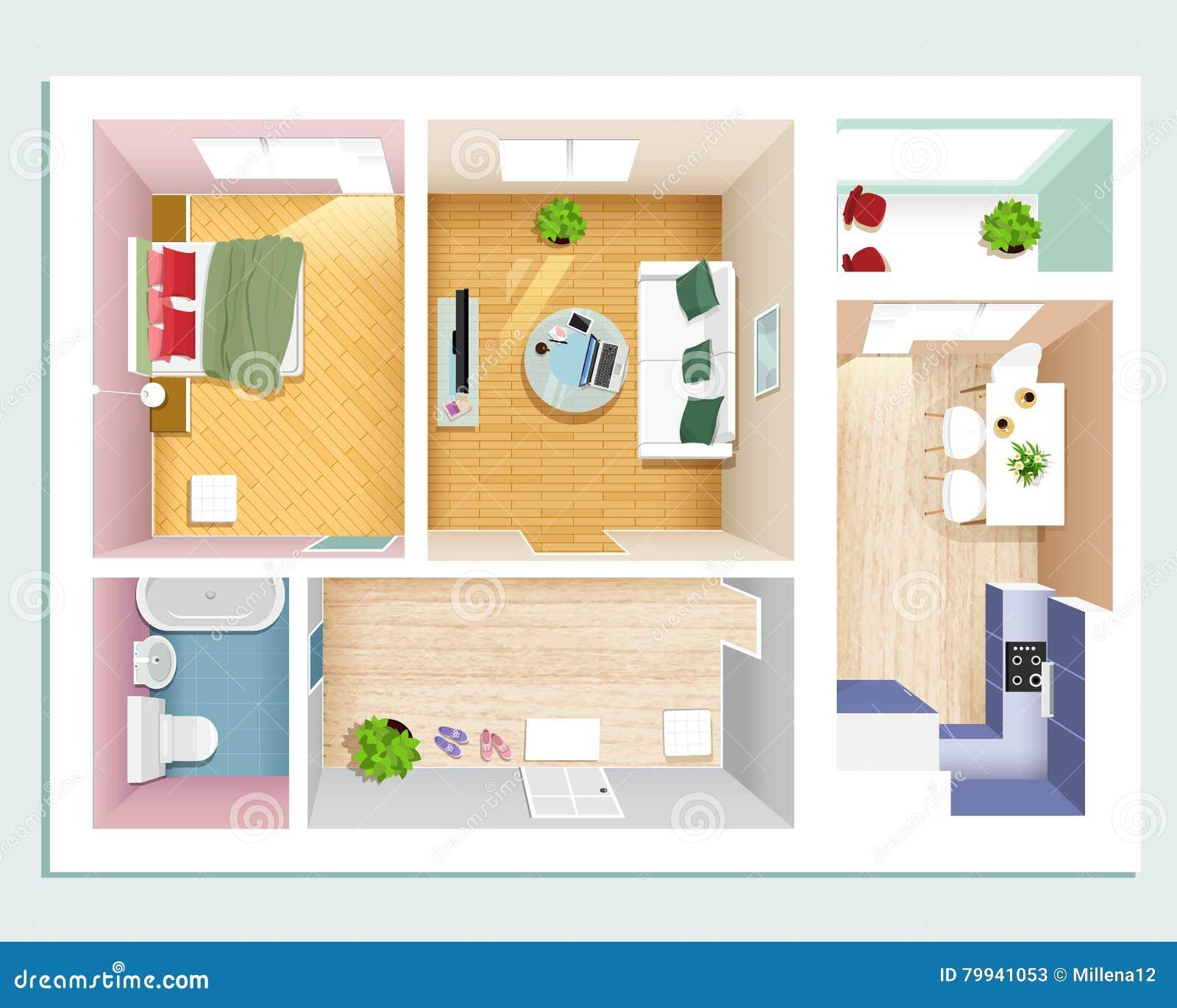 Draufsicht Der Modernen Grafischen Wohnung: Schlafzimmer, Wohnzimmer ...