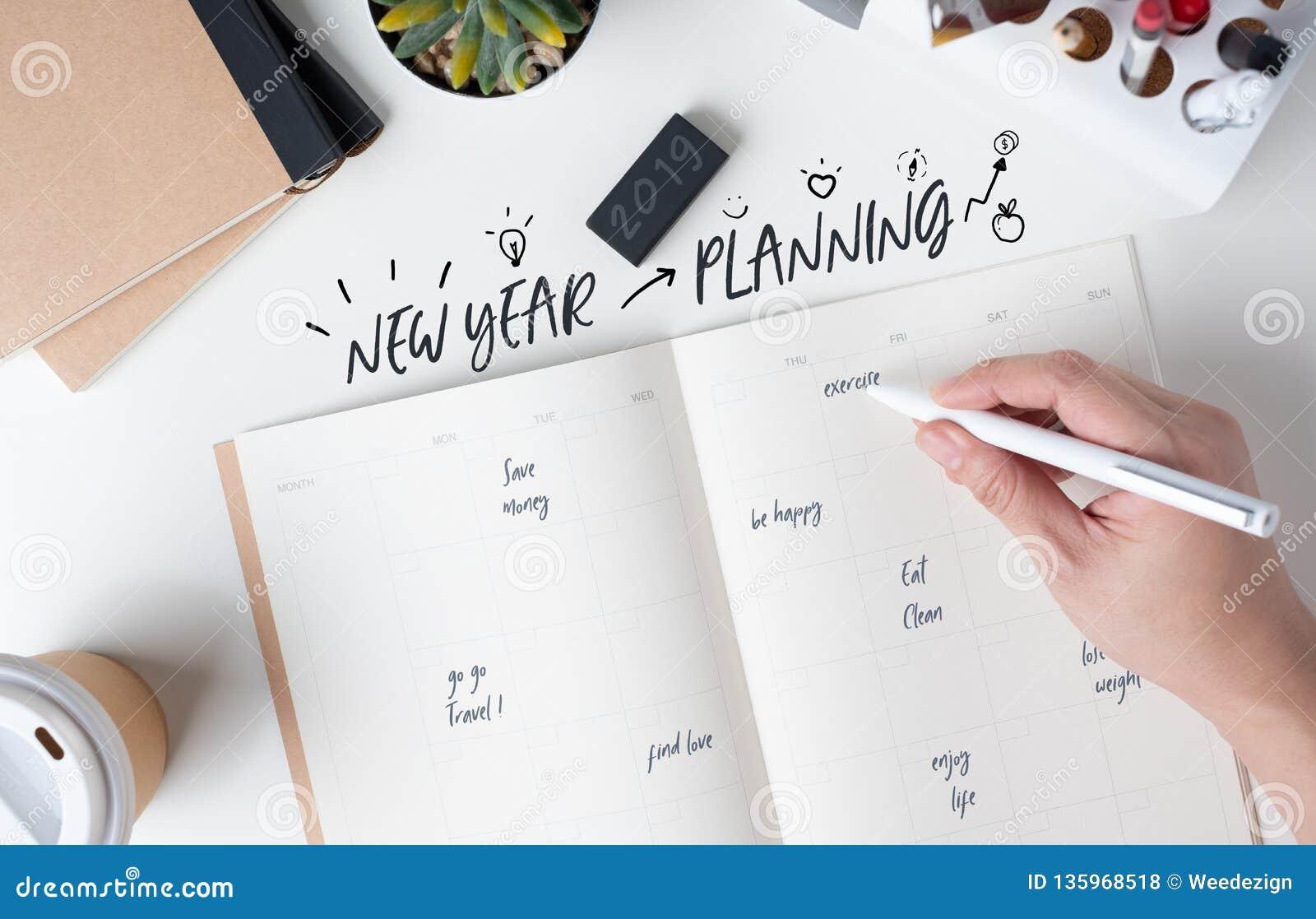 Draufsicht der Planung des neuen Jahres der Handschrift auf offenem Kalenderplaner mit Gekritzelart für Lebenentschließung mit mo