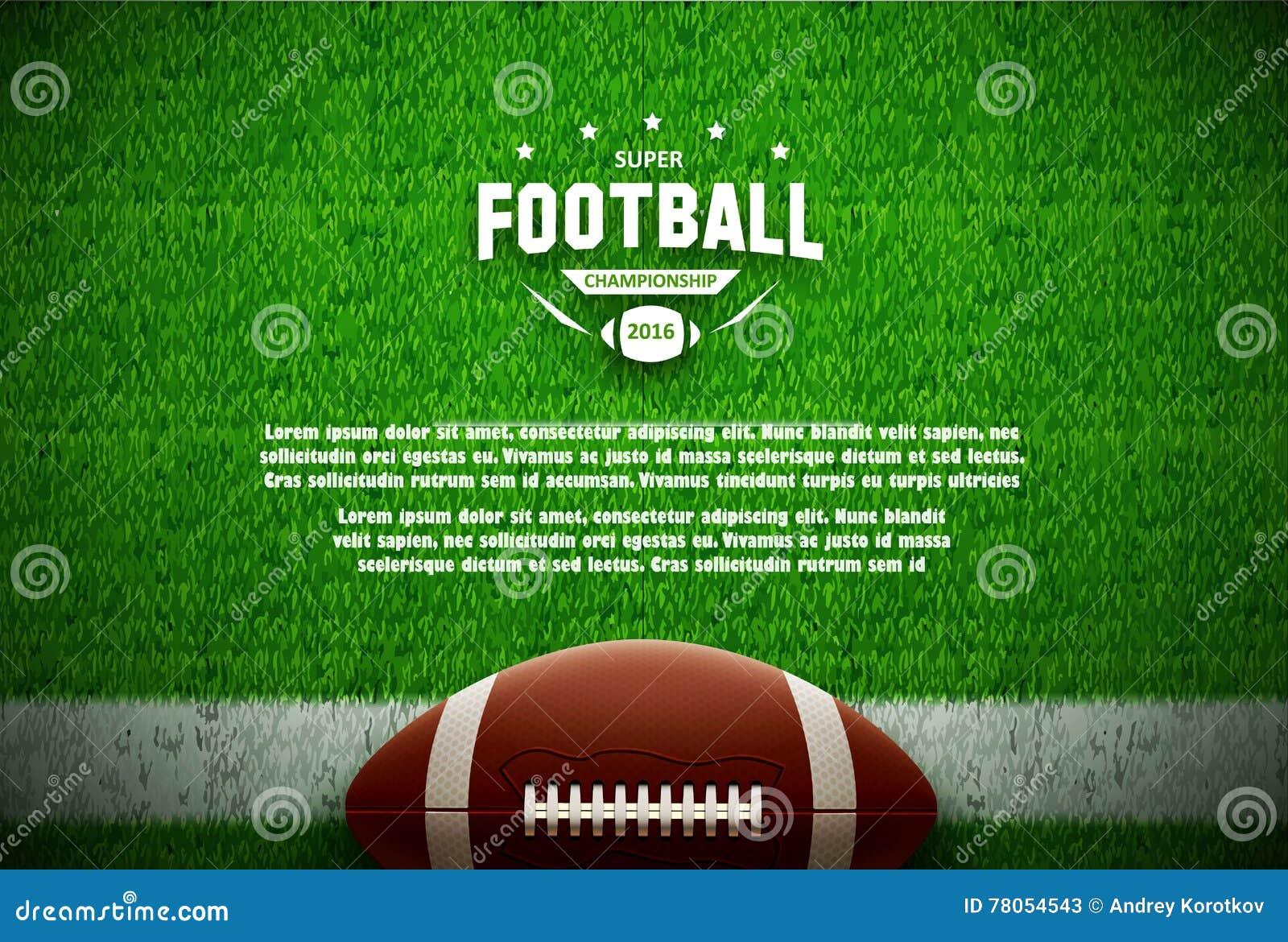 Draufsicht des amerikanischen Fußballs über grünes Feld