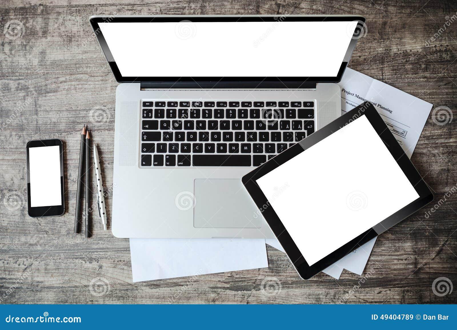 Download Draufsicht Des Arbeitsplatzes Stock Abbildung - Illustration von leerzeichen, hintergrund: 49404789