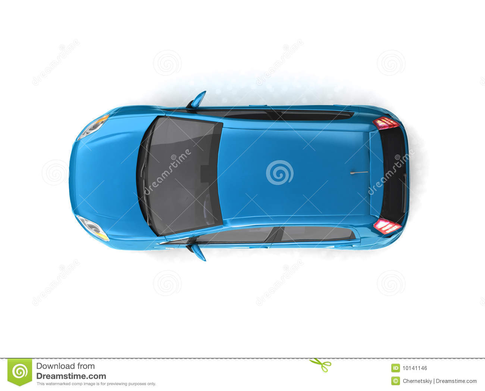 Draufsicht Des Blauen Autos Des Hatchback Stock Abbildung ...